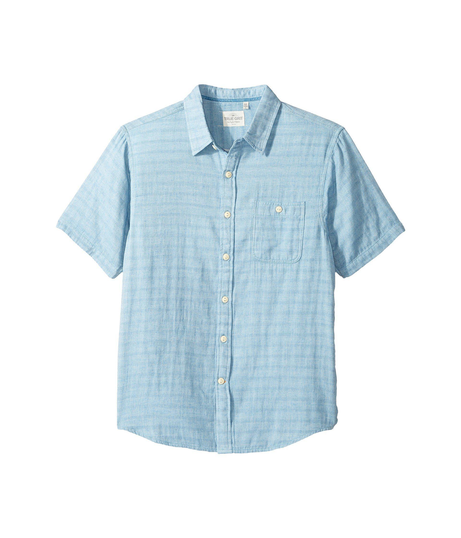 08aba69c9518 True Grit Indigo Surf Plaid One-pocket Short Sleeve Shirt Double ...
