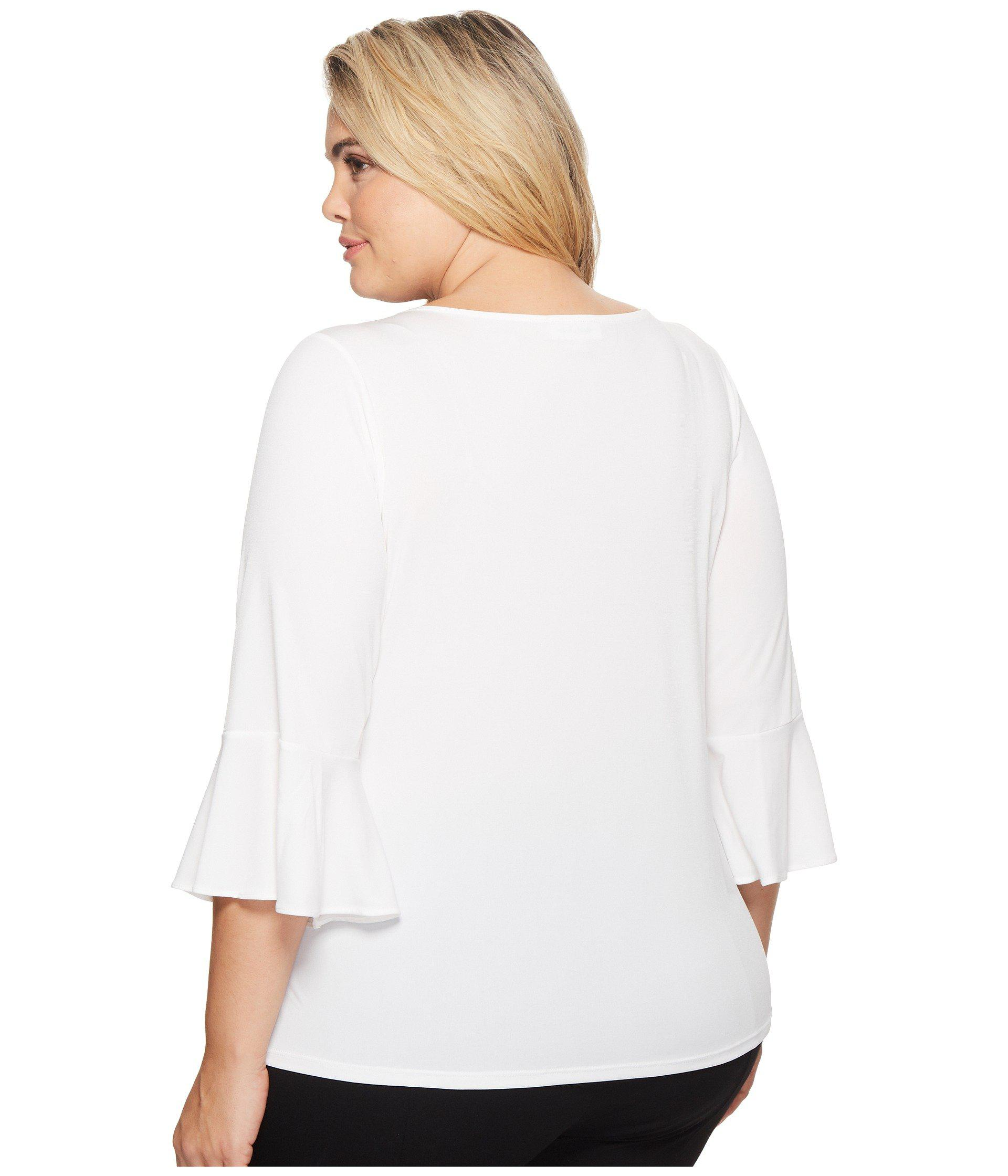 e66b9e6672b Lyst - Calvin Klein Plus Size Ruffle Sleeve Top With Bar Hardware in ...