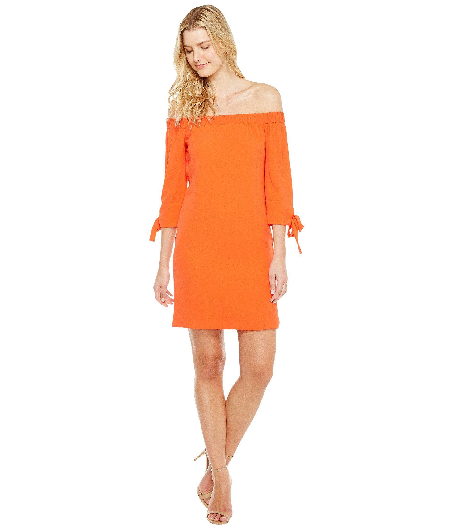 Lyst - Vince Camuto Crepe Off The Shoulder Shift Dress in Orange fe5d3169eb