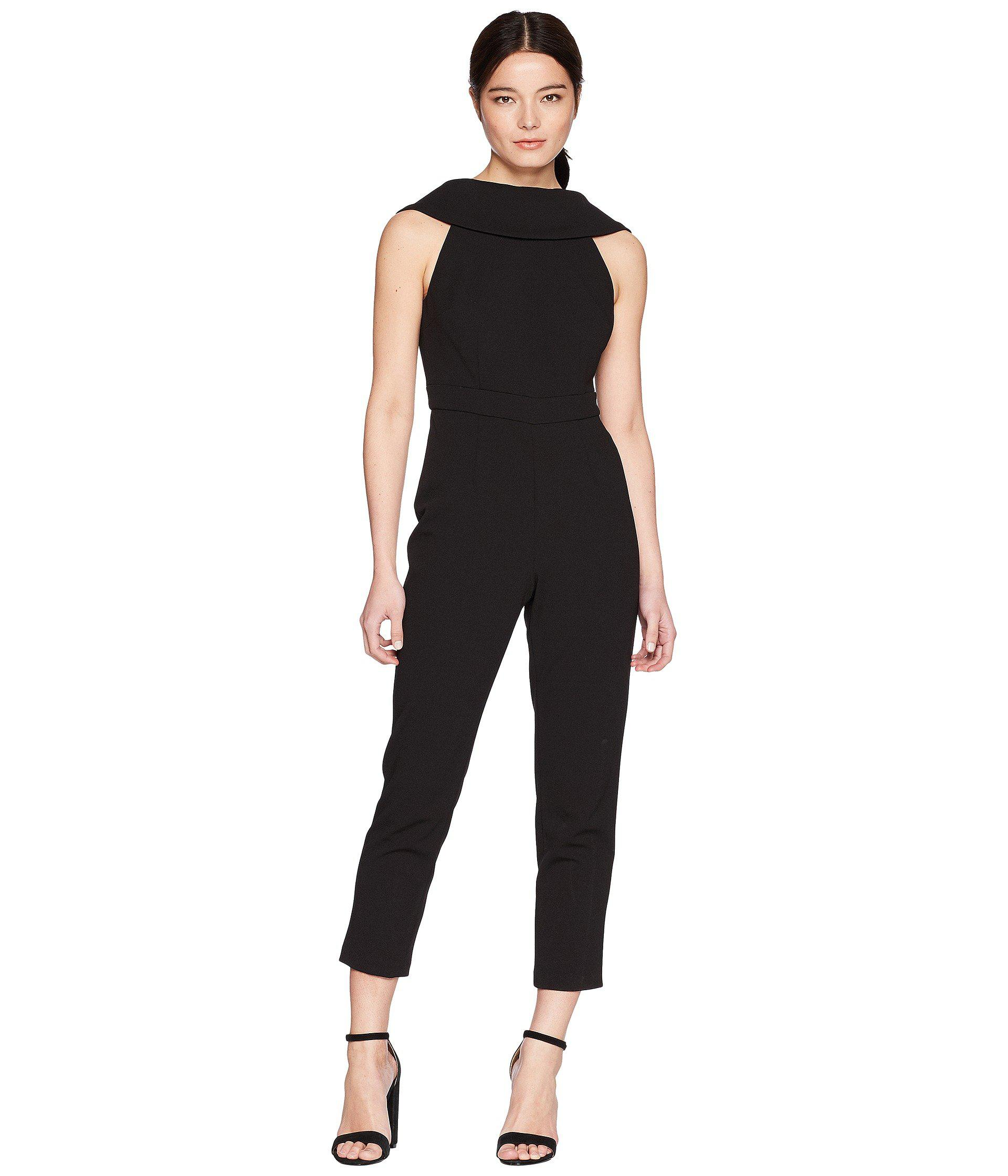 b3783d2e68c Lyst - Adrianna Papell Petite Knit Crepe Roll Neck Jumpsuit in Black