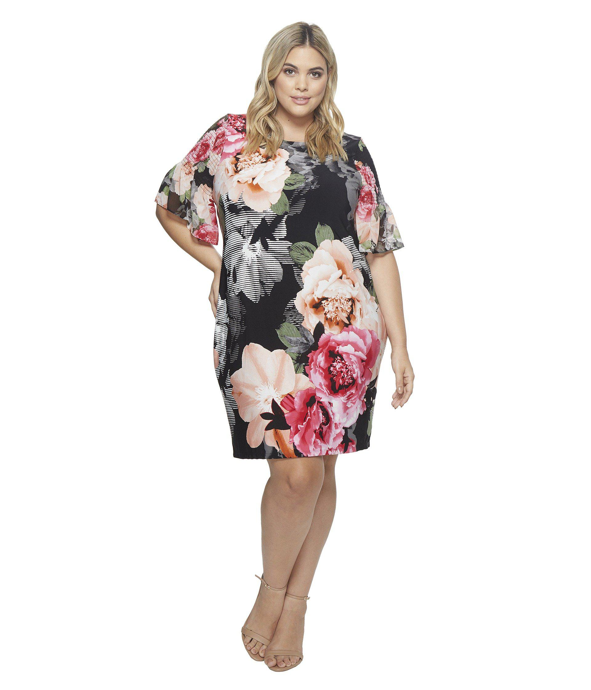 263ef0f7f3f5 Lyst - Calvin Klein Plus Size Printed Gathered Sleeve Dress in Black ...