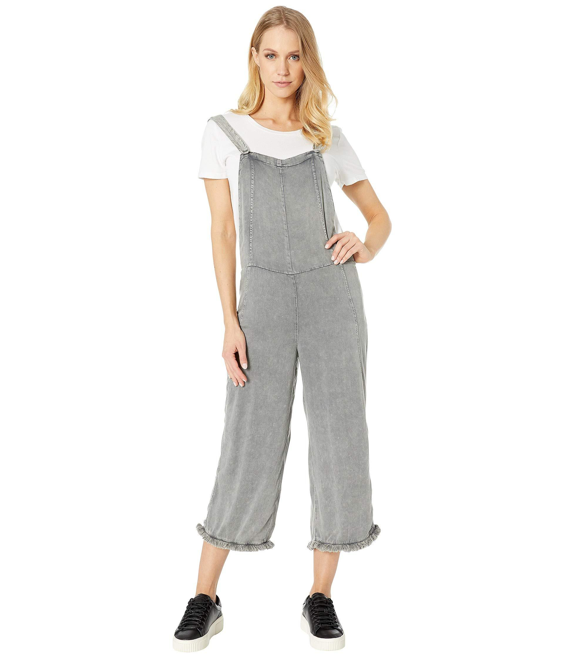 1a44f3a255 Lyst - Chaser Heirloom Woven Cross-back Cropped Overalls in Gray
