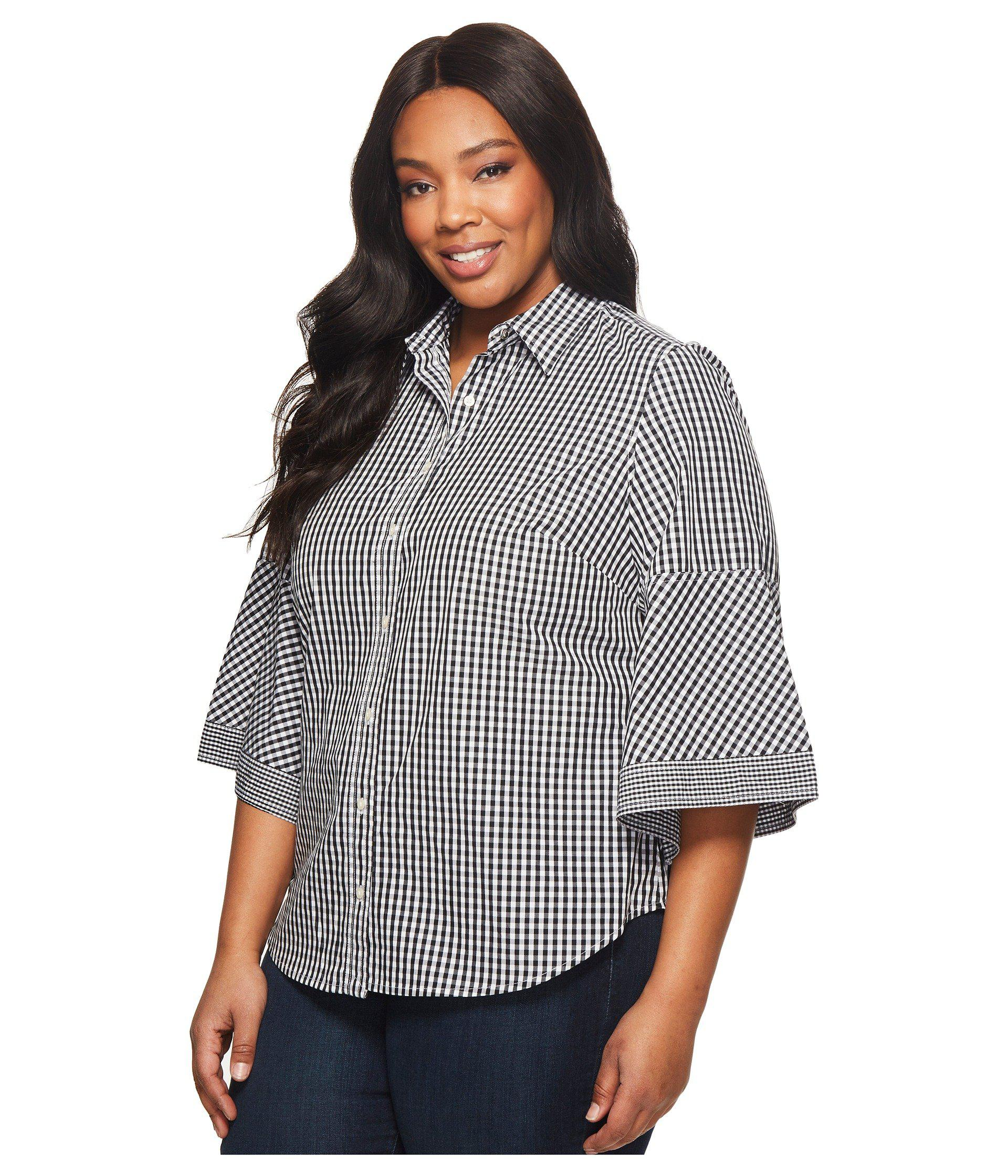 4cd40dce0e2 Lyst - Lauren by Ralph Lauren Plus Size Gingham Bell-sleeve Shirt in Black  - Save 51%