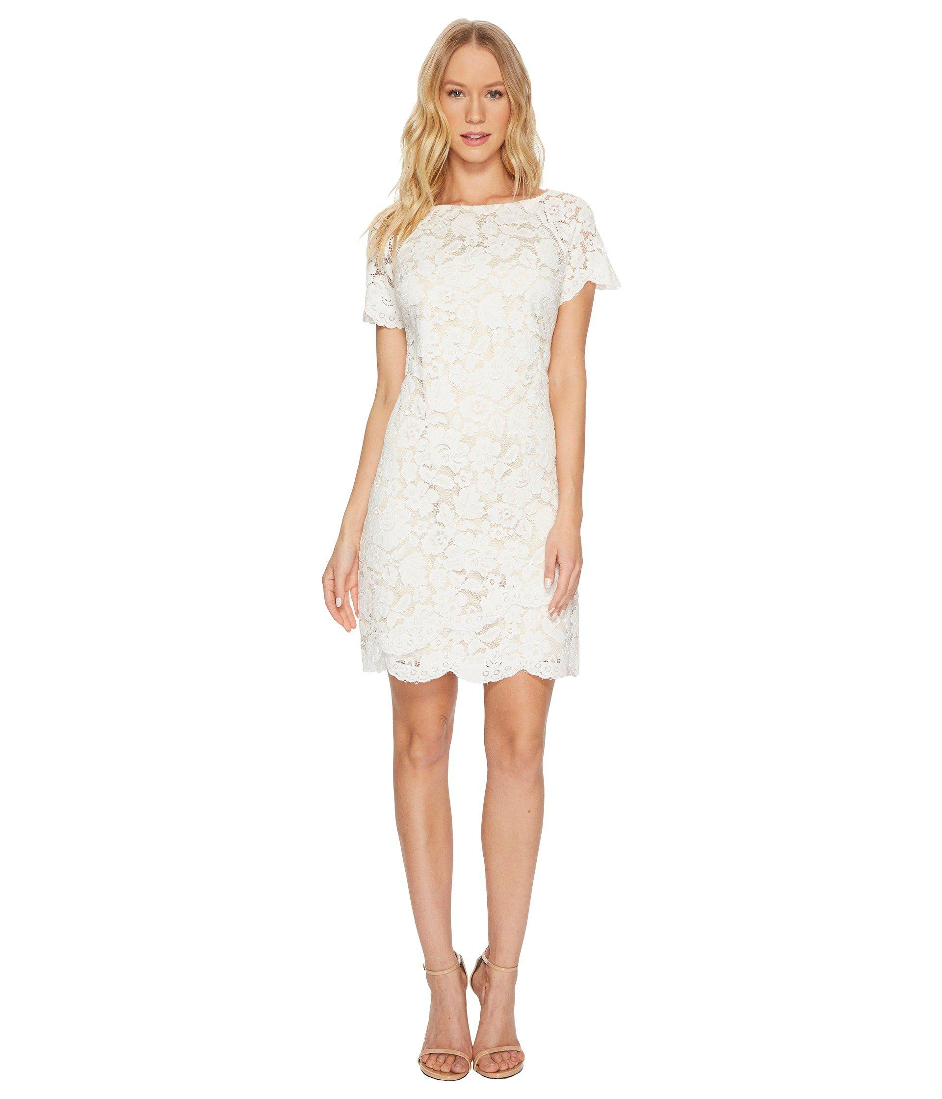 498dc187 Vince Camuto Lace Shift Dress With Scallop Details At Hem in White ...