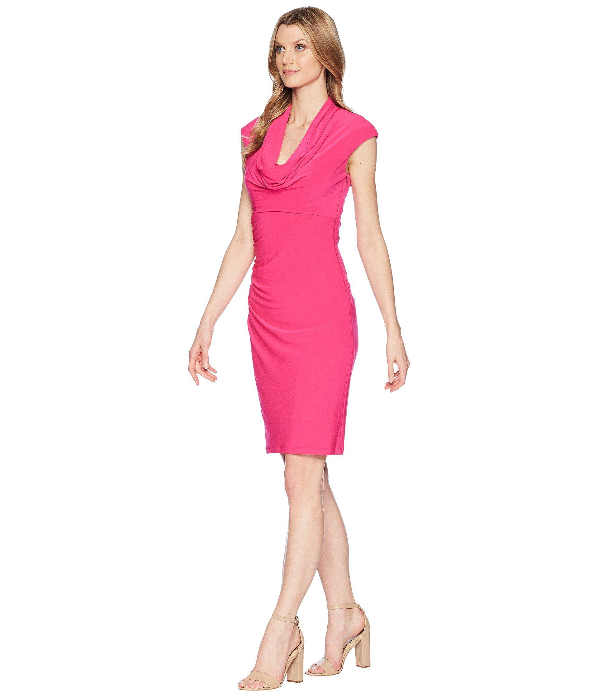 Lyst Adrianna Papell Matte Jersey Cowl Neck Drape Dress In Pink Save 50 72463768115942