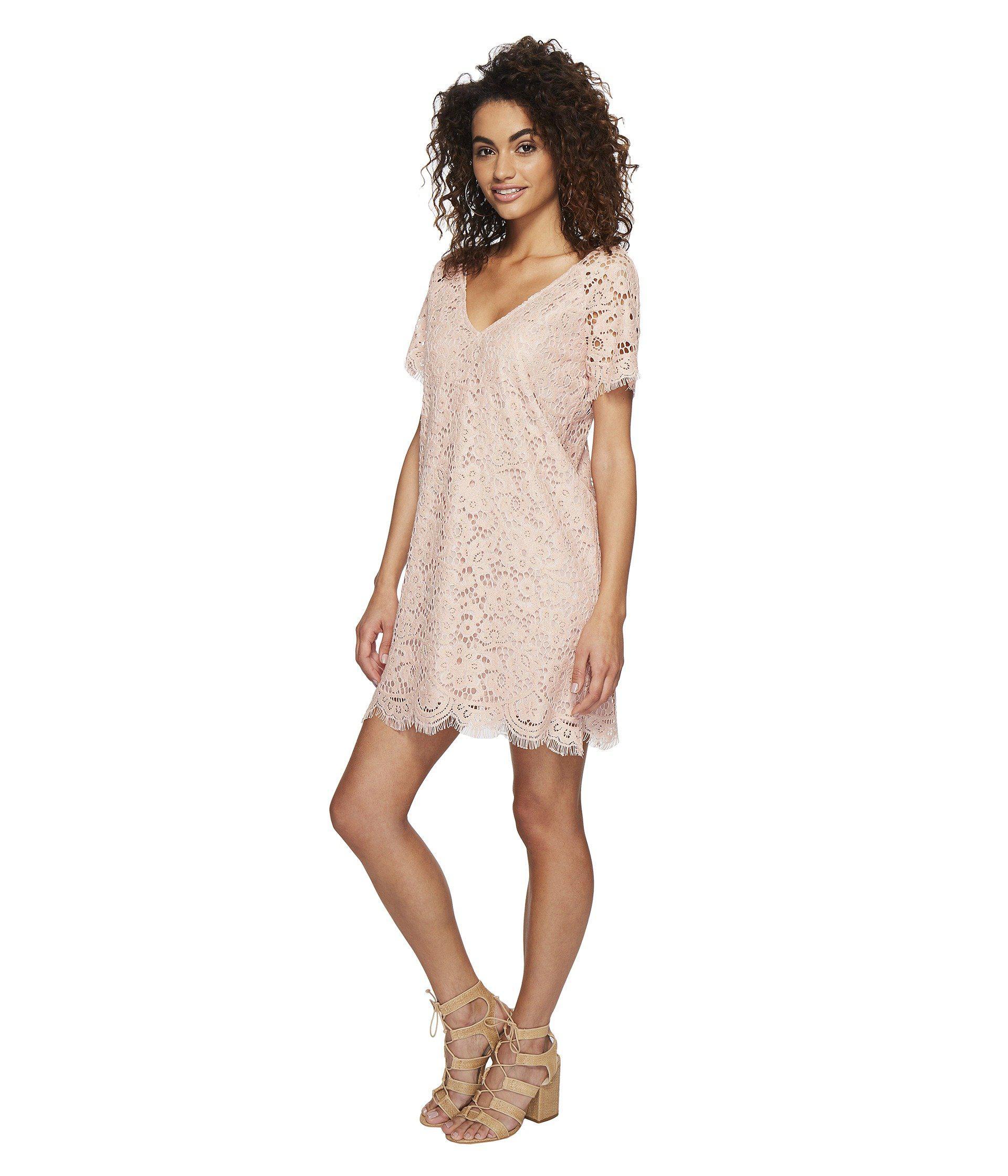 e8be8232d6b Lyst - BB Dakota Trista Lace Shift Dress in Pink