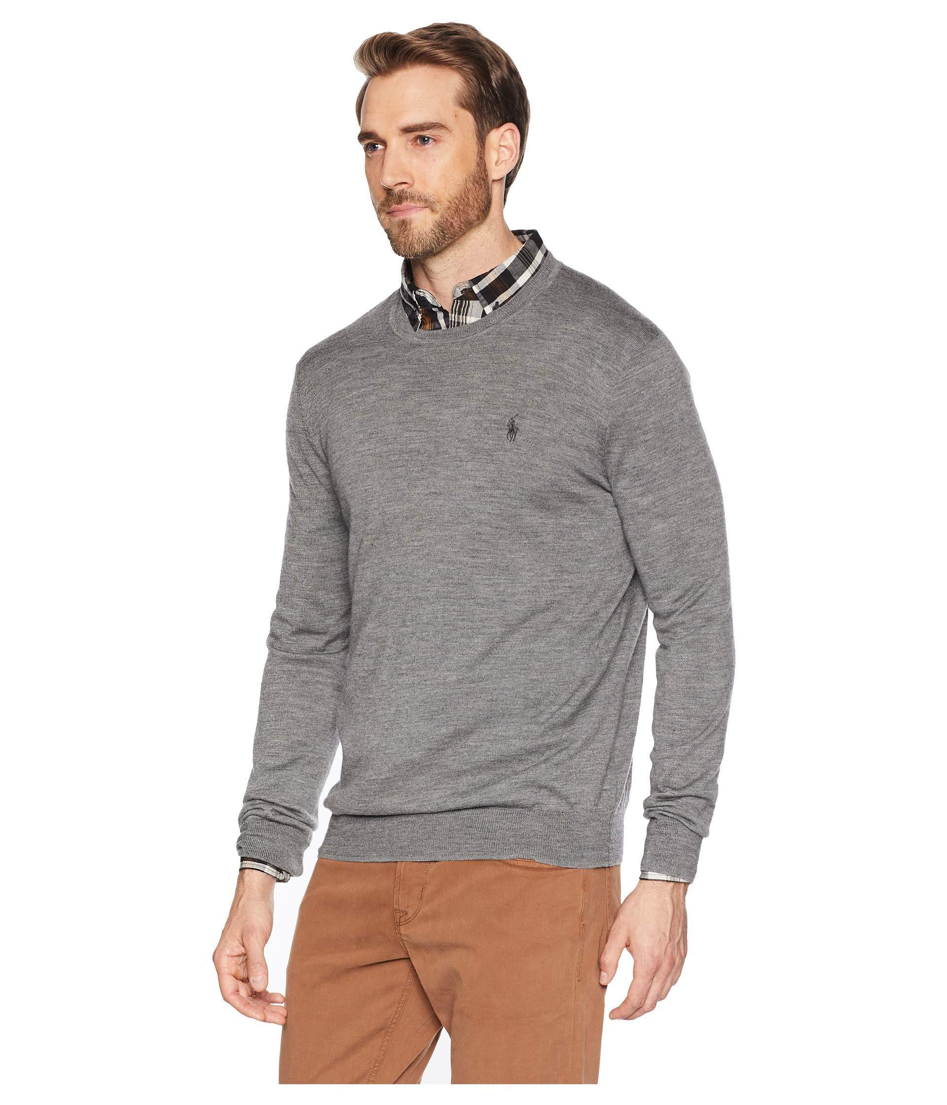b3cfaac4875f8 Lyst - Polo Ralph Lauren Washable Merino Crew Neck Sweater in Gray for Men