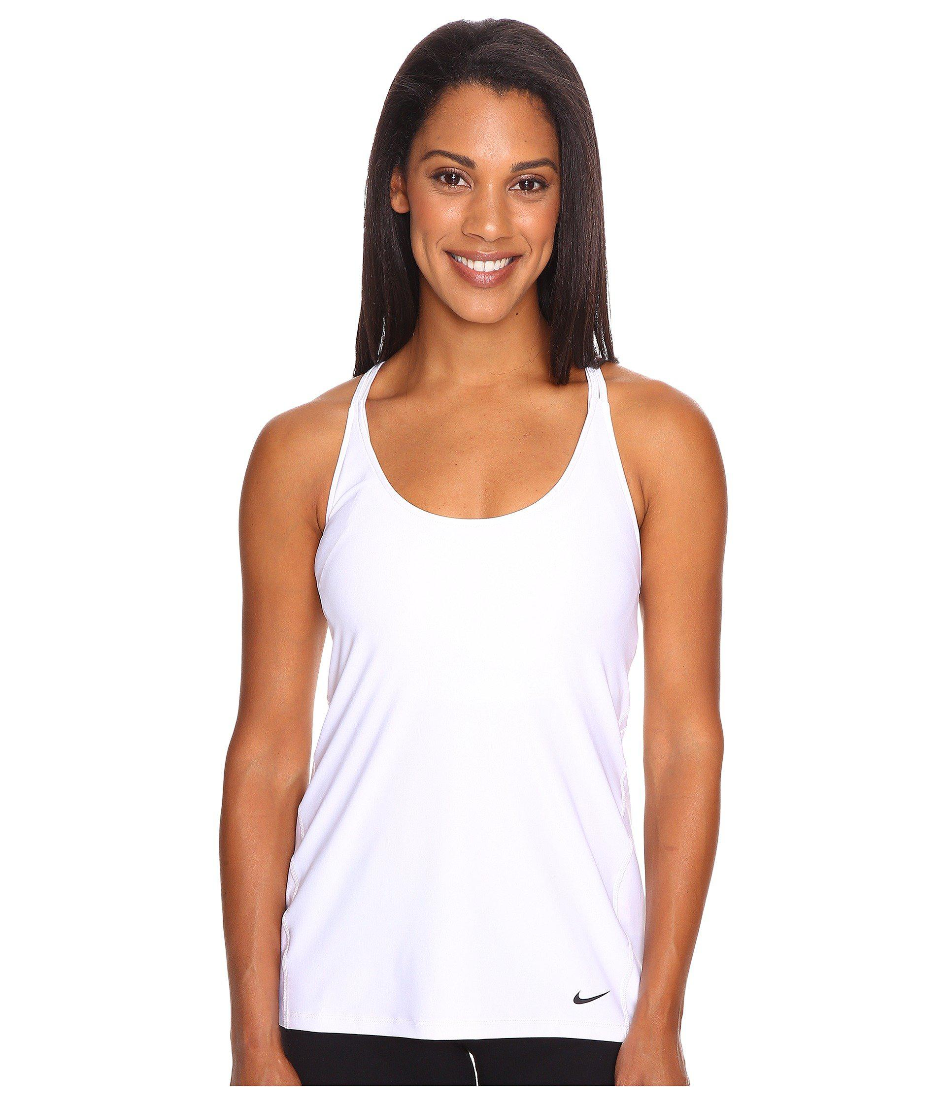 950e22bba2ff66 Lyst - Nike Strappy Training Tank in White - Save 20%