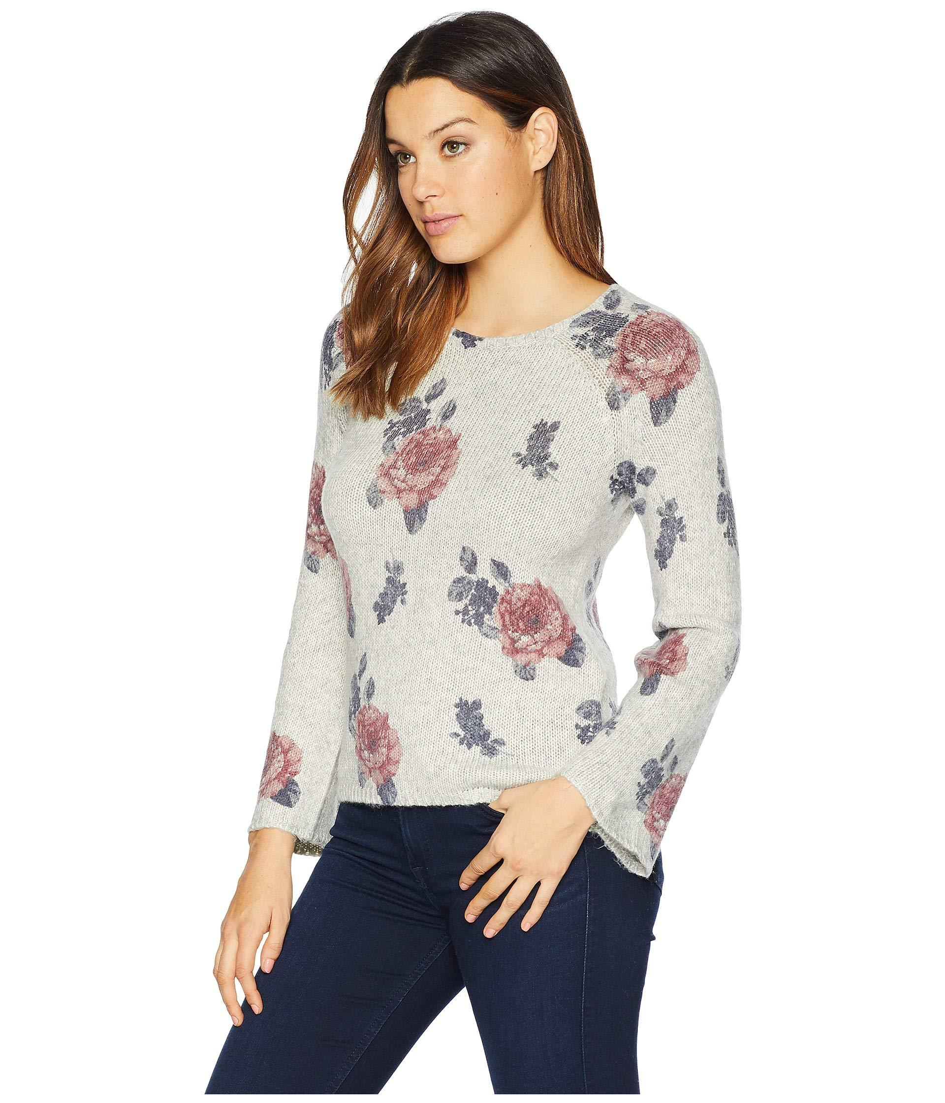 bde9662aff5 Lucky Brand Floral Pullover Sweater in Gray - Save 52% - Lyst