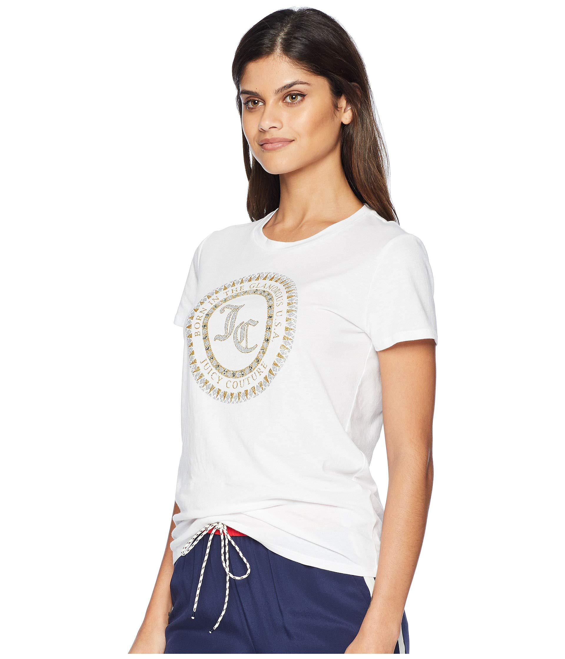 ed015c2afc Lyst - Juicy Couture Track Seal Of Couture Class Short Sleeve Tee in White