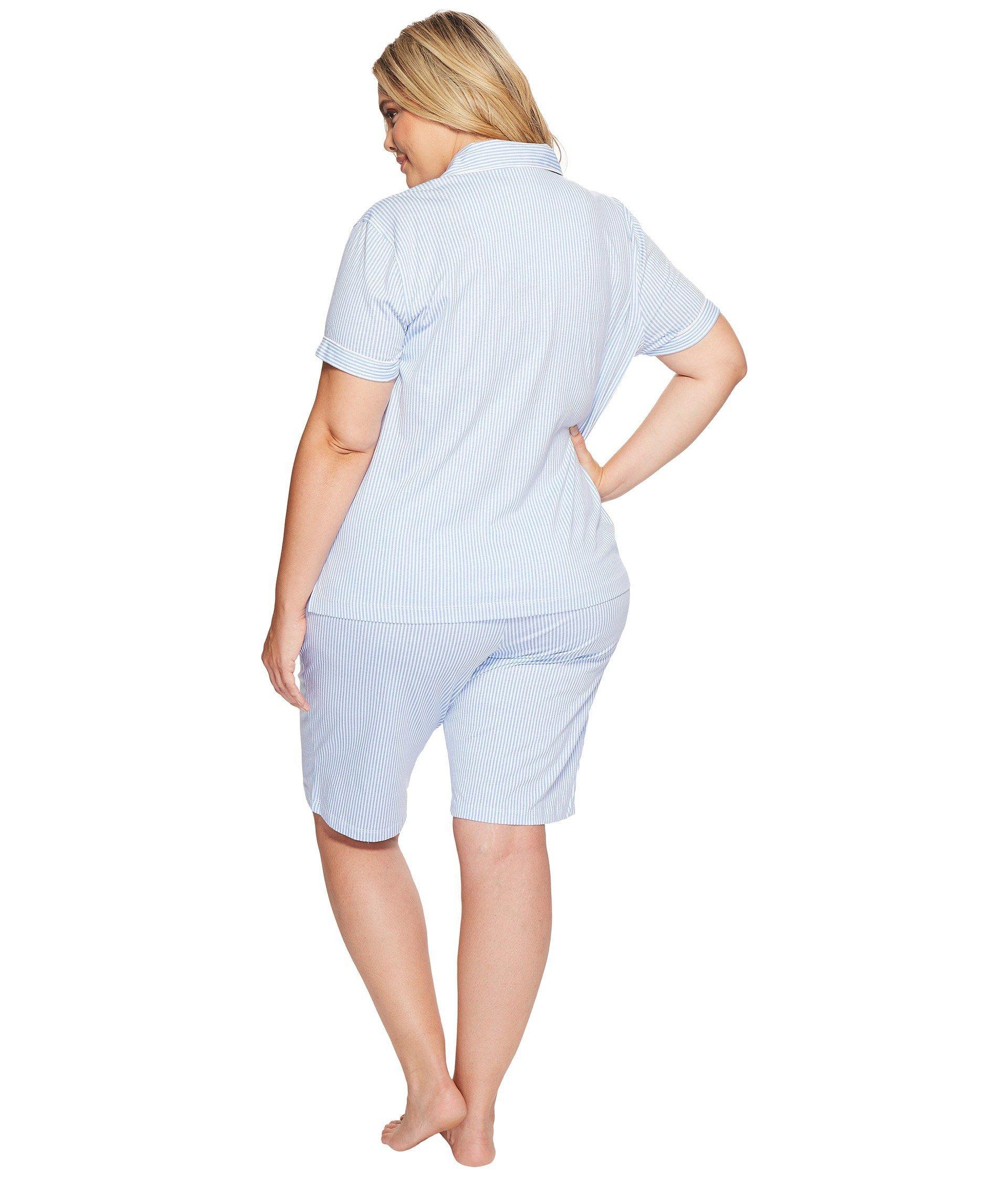 9e6095fbad Lauren by Ralph Lauren - Blue Plus Size Short Sleeve Notch Collar Bermuda  Shorts Pj Set. View fullscreen
