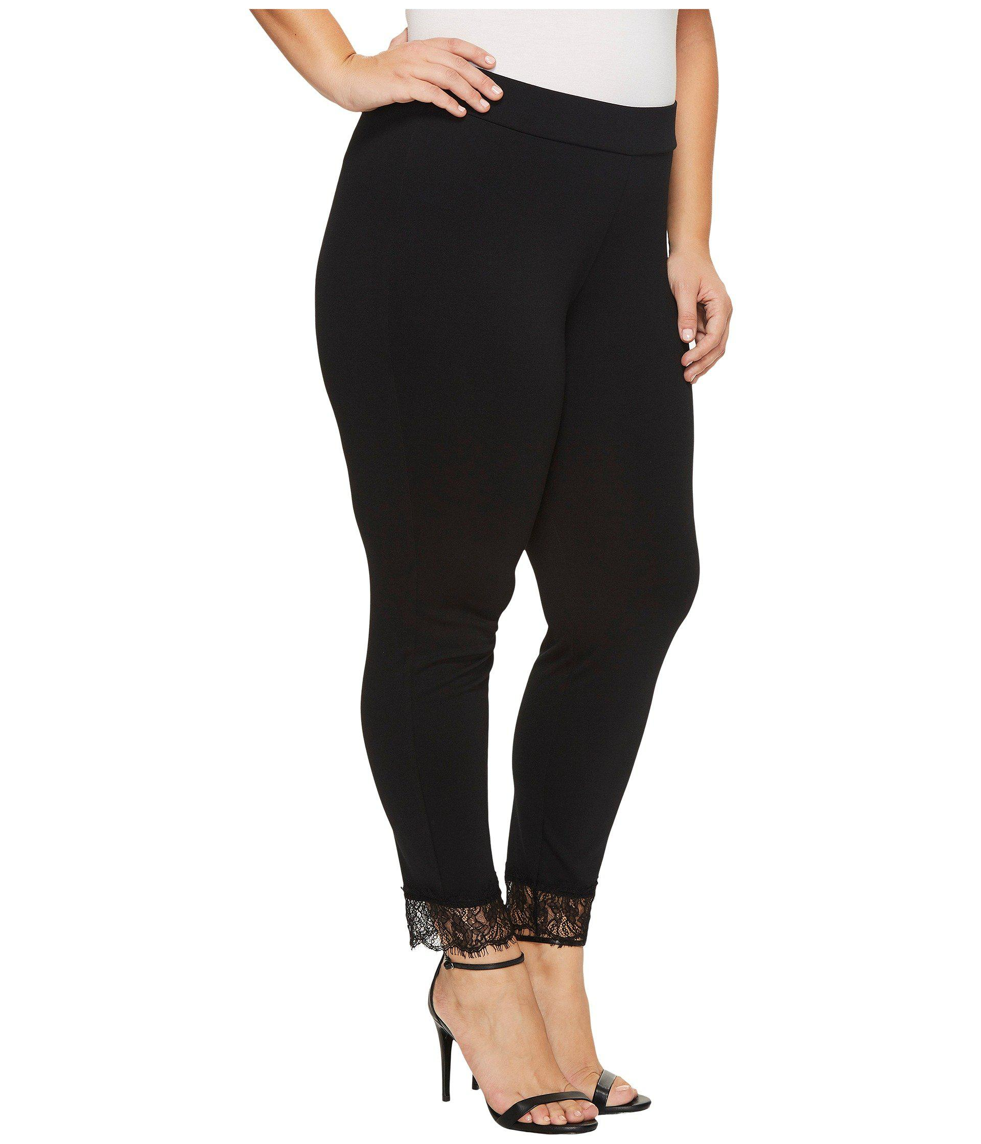 cec86c47788d4 Lyst - MICHAEL Michael Kors Plus Size Lace Cuff Ponte Leggings in Black