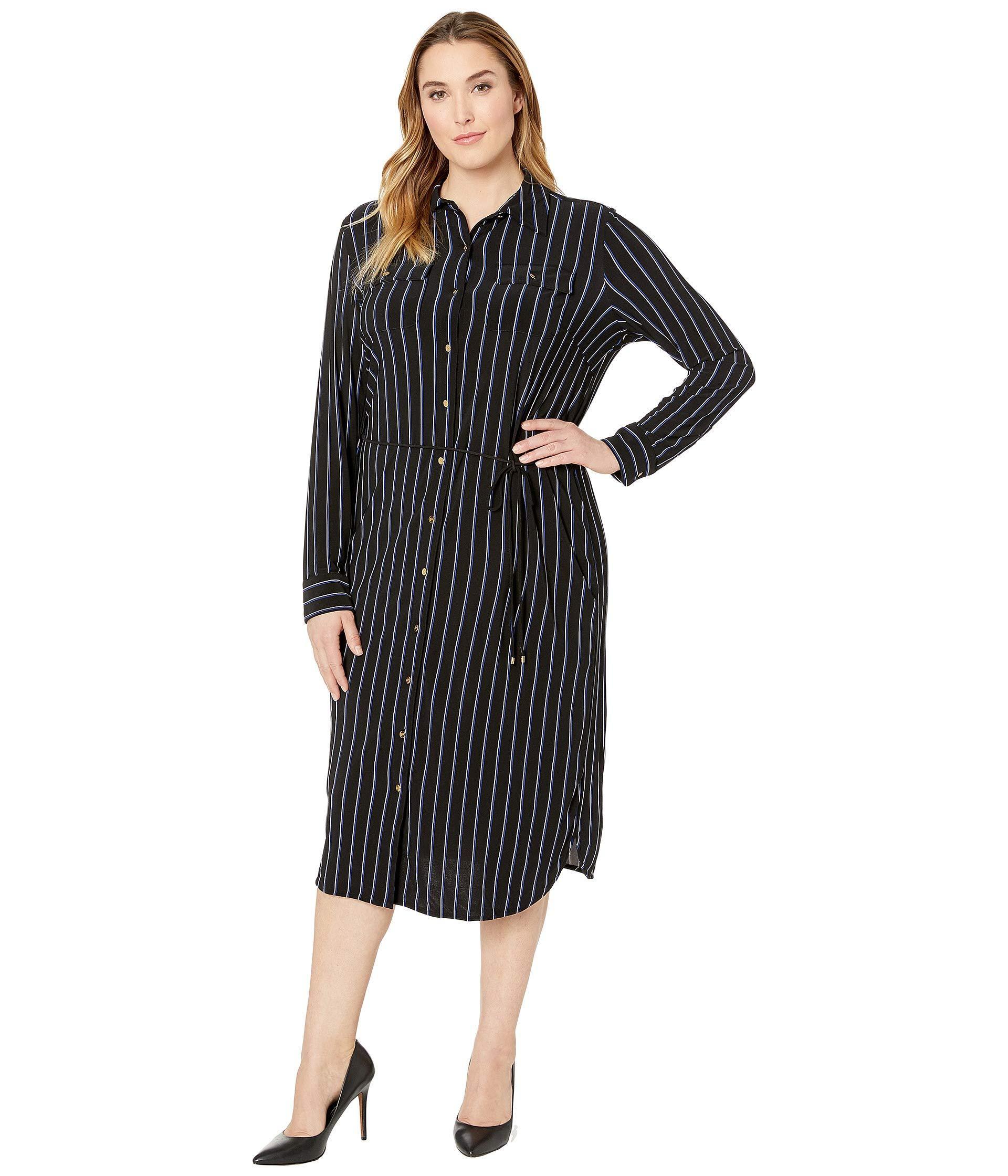 3c72064e00f8 Lauren by Ralph Lauren Plus Size Striped Jersey Shirtdress in Black ...