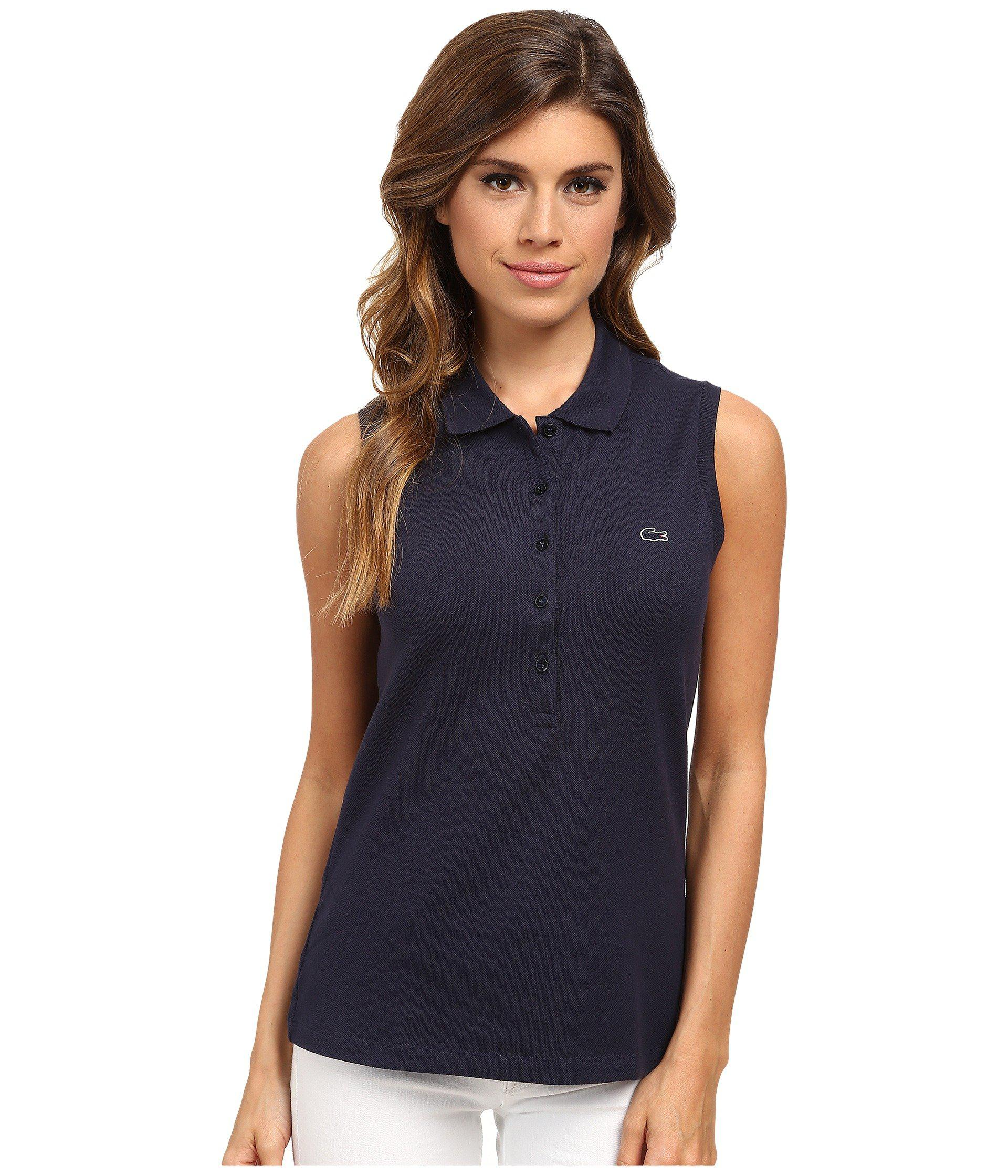 6737500bfd Lyst - Lacoste Sleeveless Slim Fit Stretch Pique Polo Shirt in Blue