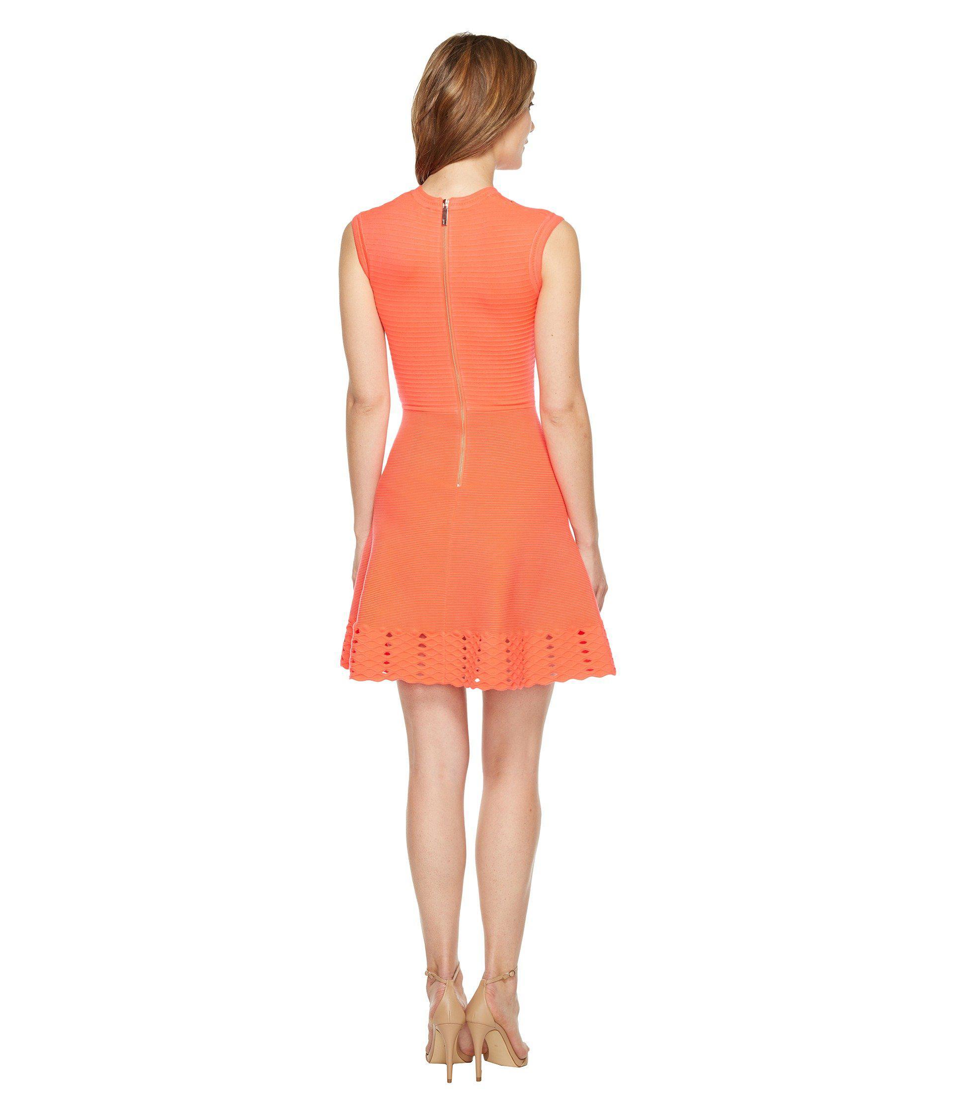 3f8c96cfc662 Lyst - Ted Baker Zaralie Jacquard Panel Skater Dress in Orange