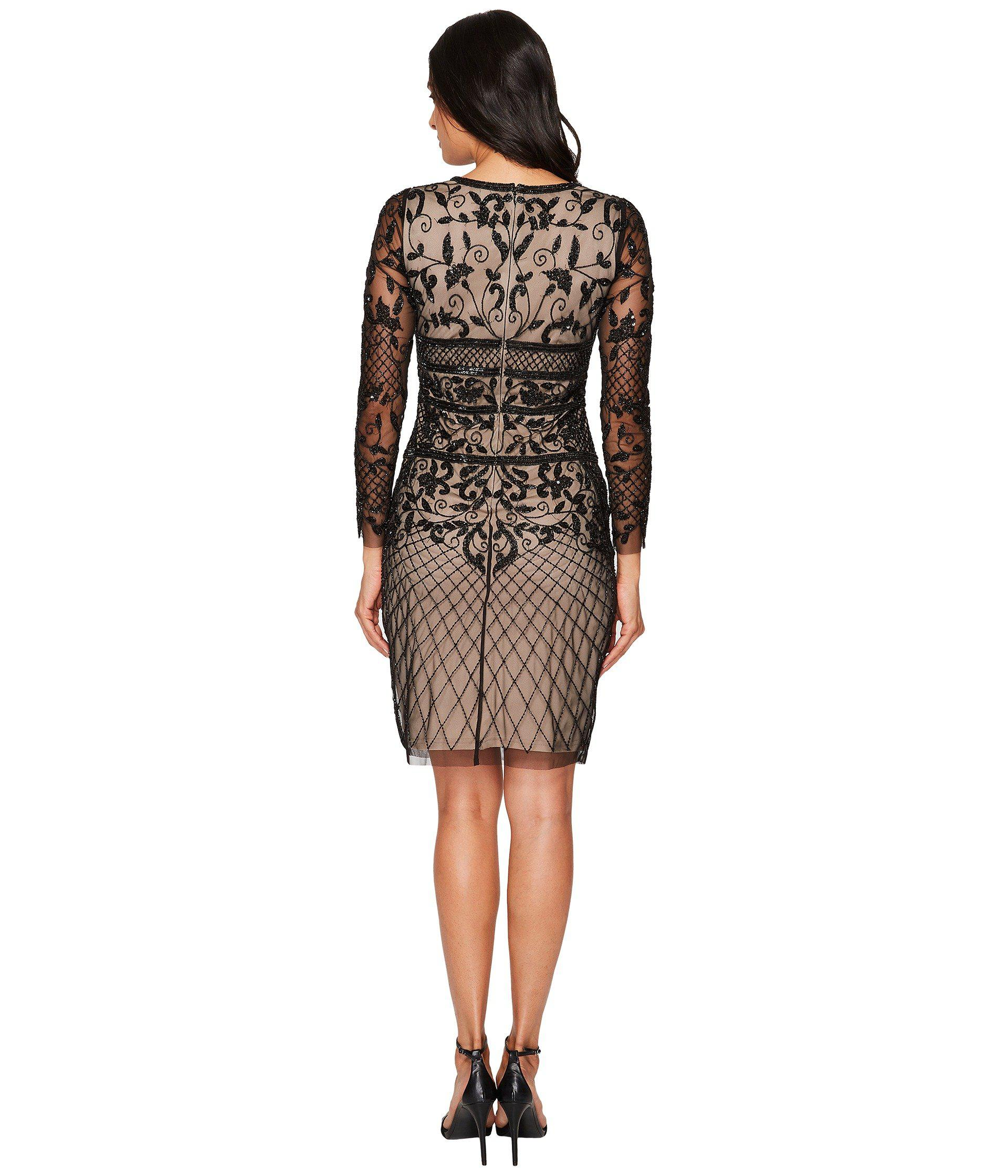 e9accfd92f04 Adrianna Papell Long Sleeve Fully Beaded Cocktail Dress With Nude ...