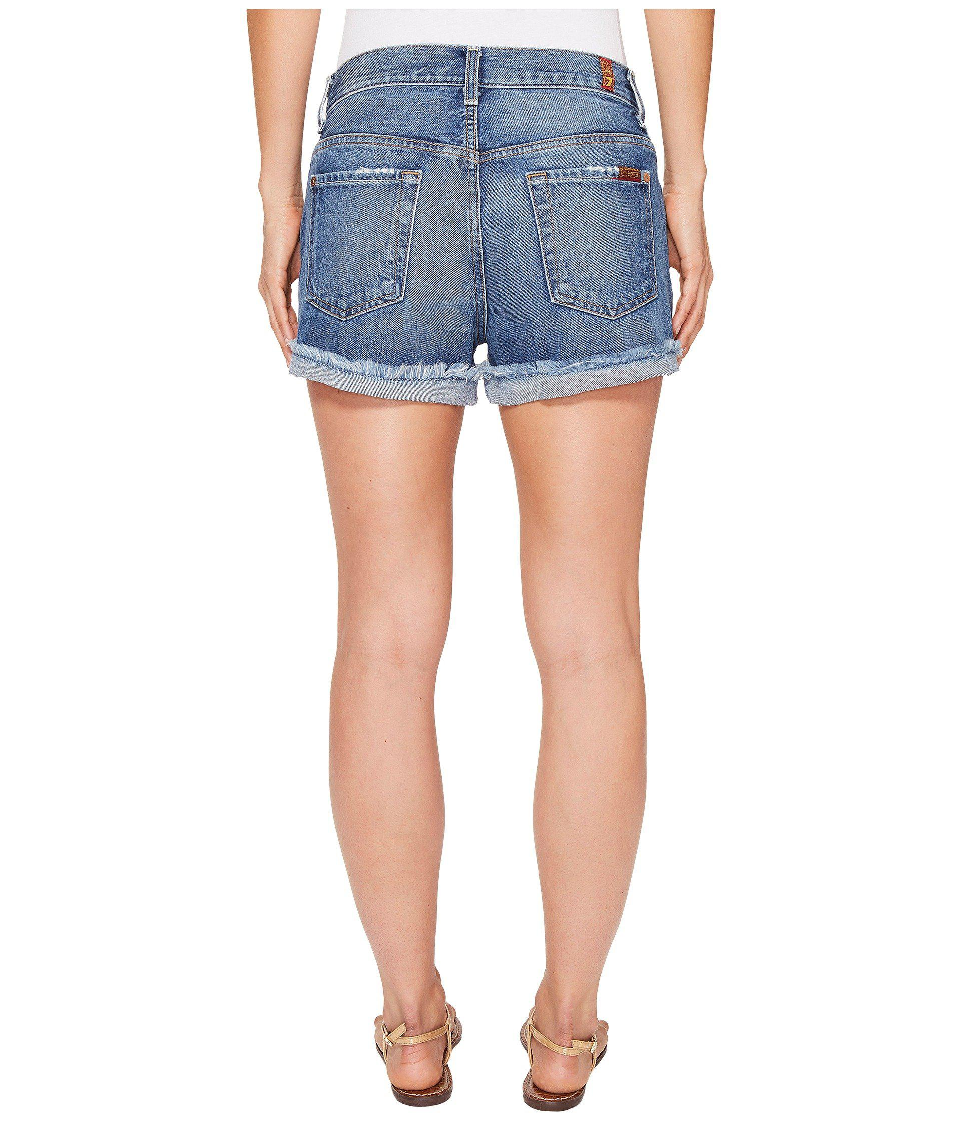 c21bfea21 Lyst - 7 For All Mankind Cut-off Short W  Aggressive Destroy In ...