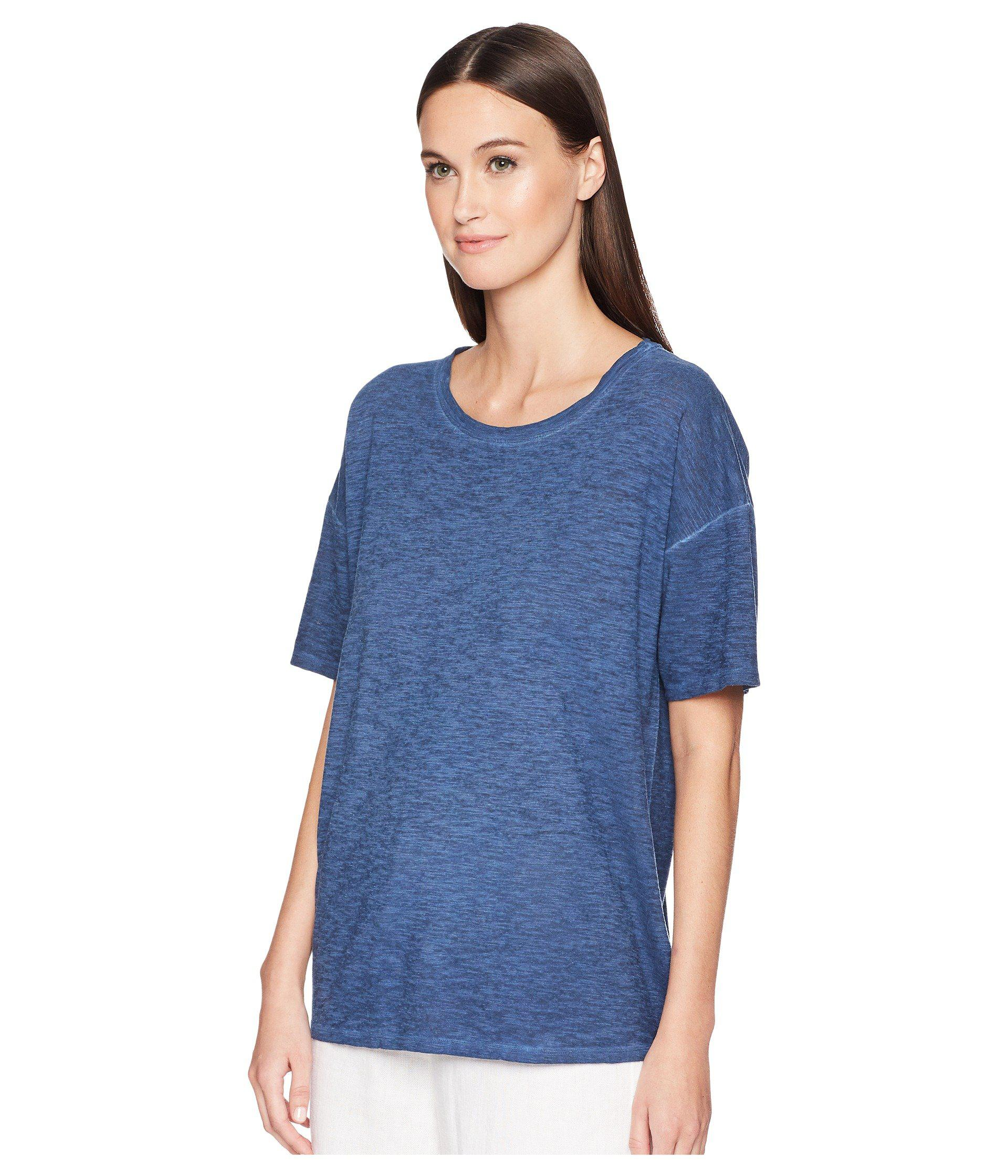 4c0bbac7e8b4af Lyst - Eileen Fisher Jewel Neck Box-top in Blue - Save 51%