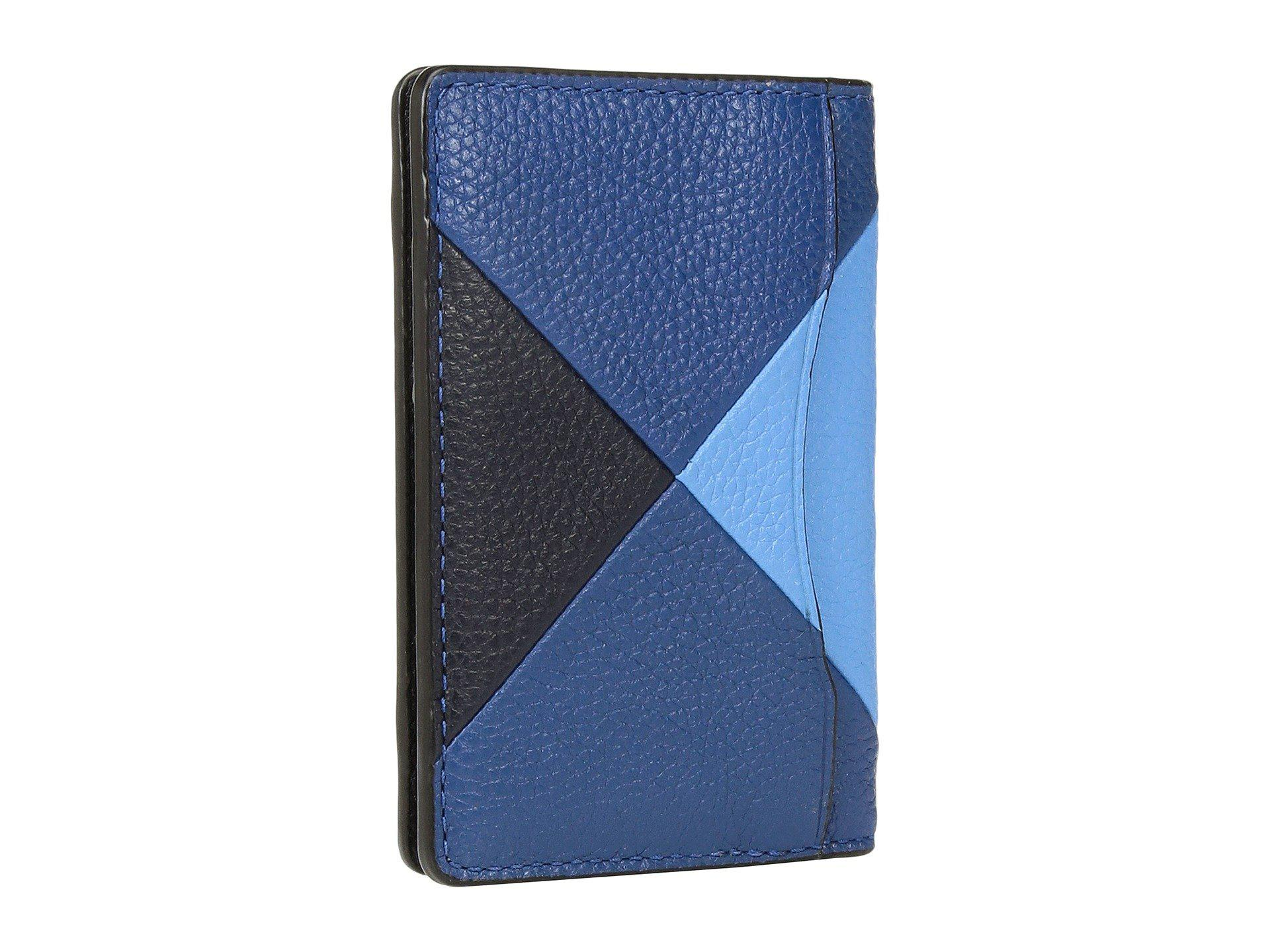 895c76e1a8a5 Lyst - Coach Refined Pebbled Patchwork Card Wallet in Blue