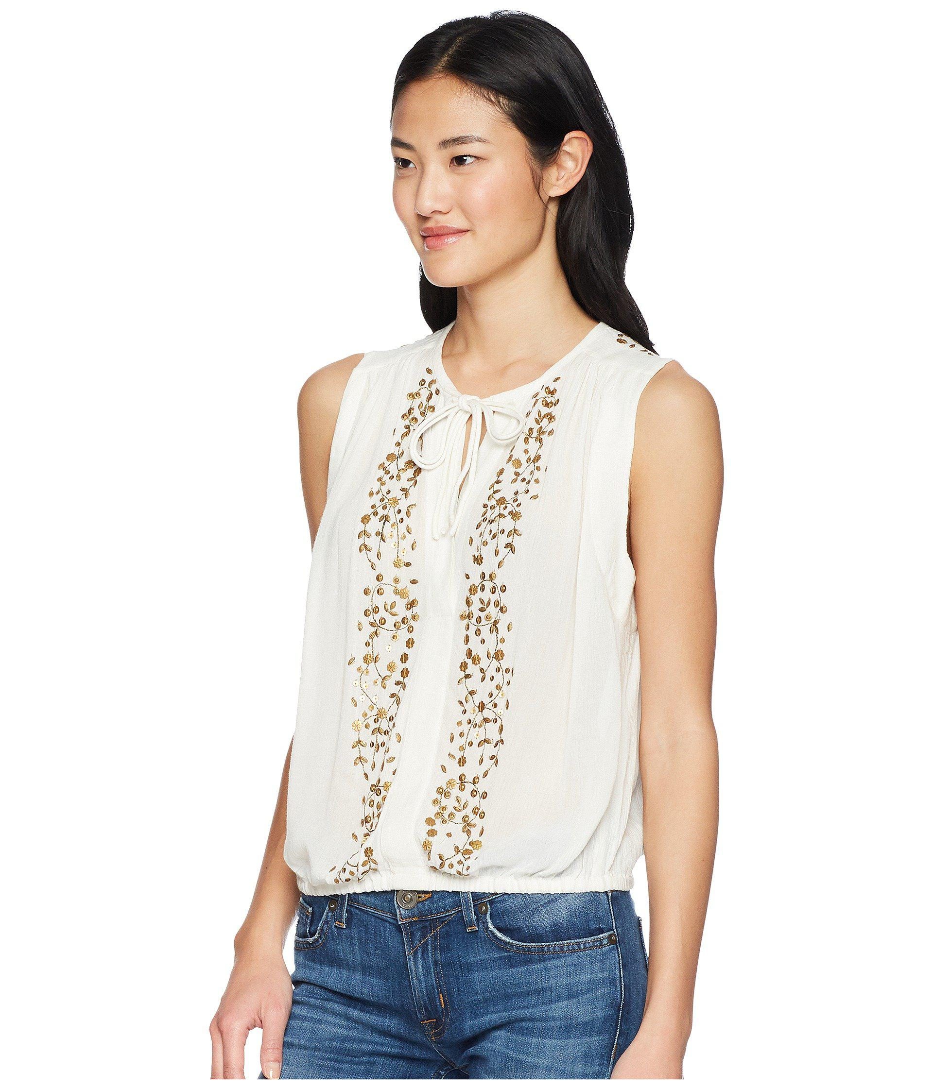 1681db6d668 Lyst - Lucky Brand Helena Top in White - Save 37%