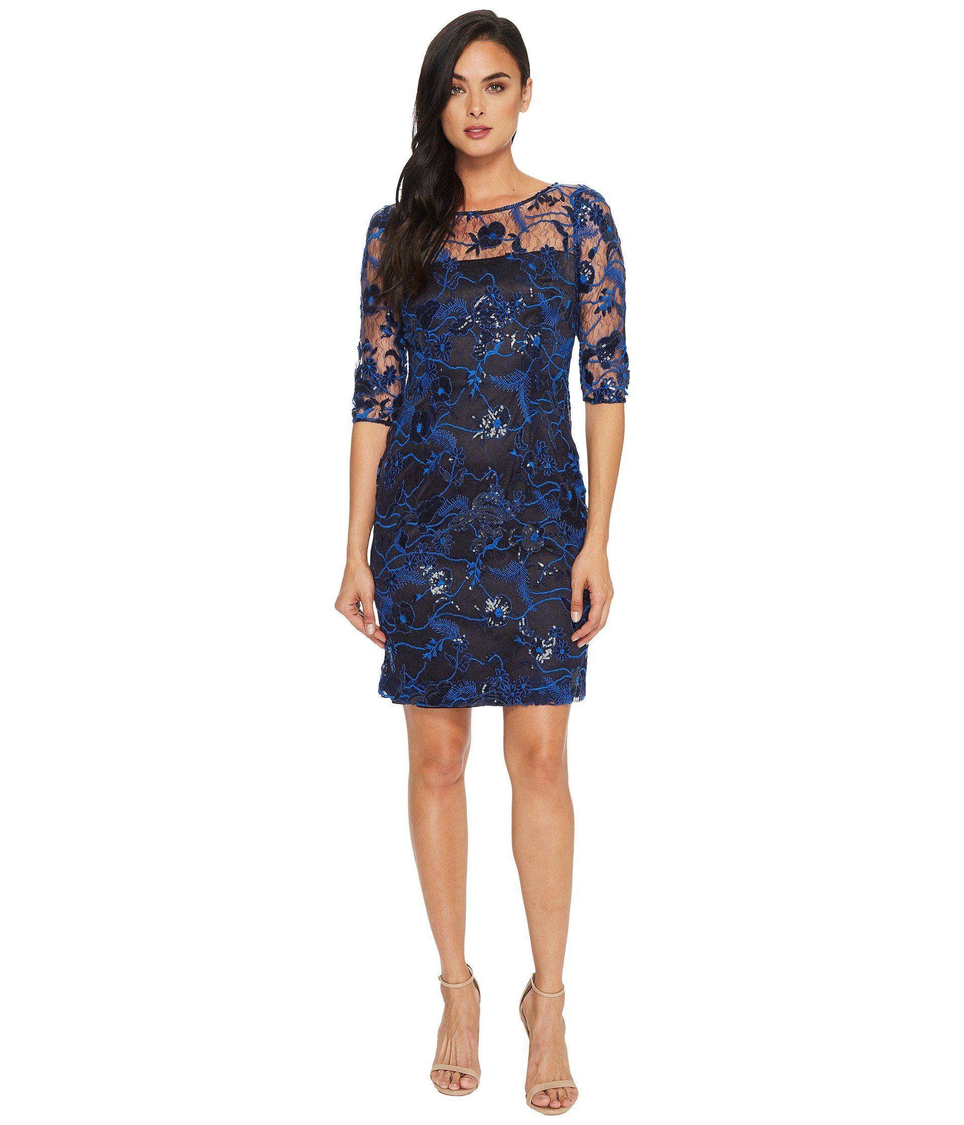 4f57803c7bf76 Lyst - Tahari Embroidered Mesh Sheath Dress in Blue - Save 44%