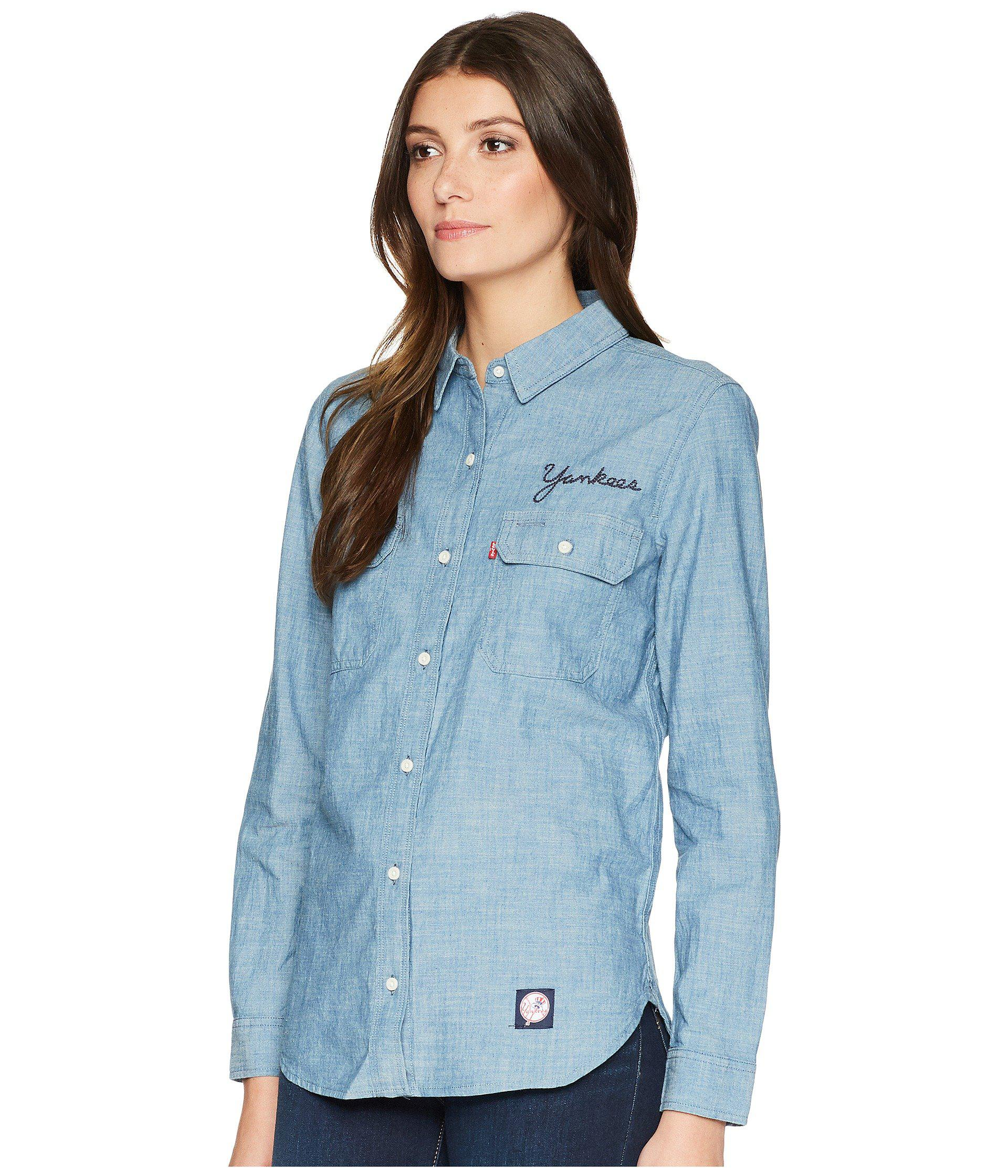 ef79e32901 Lyst - Levi s New York Yankees Chambray Shirt in Blue