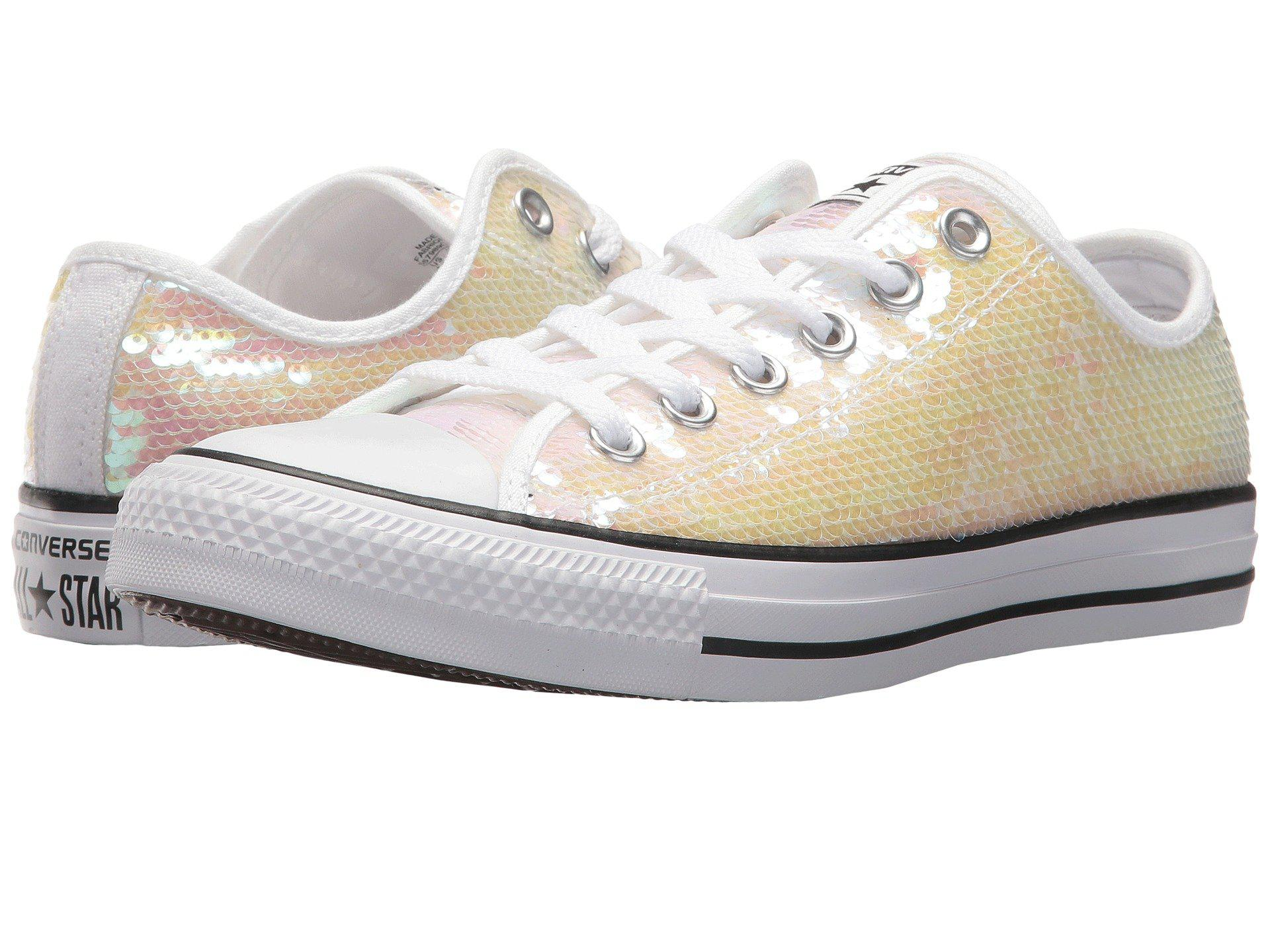 67eaeab6a1915a Lyst - Converse Chuck Taylor® All Star® Sequins Ox in White