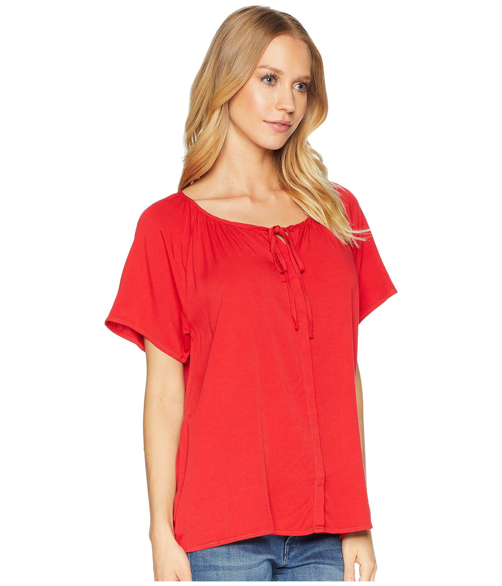 c75b43a15c Michael Stars - Red Rylie Rayon Button Up Peasant Top - Lyst. View  fullscreen