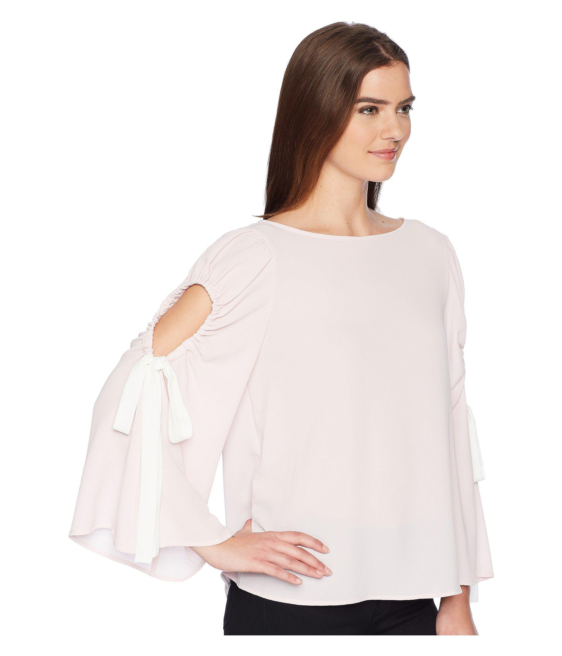 b42c50be0613b0 Vince Camuto - Pink Bell Sleeve Tie Cold Shoulder Blouse - Lyst. View  fullscreen