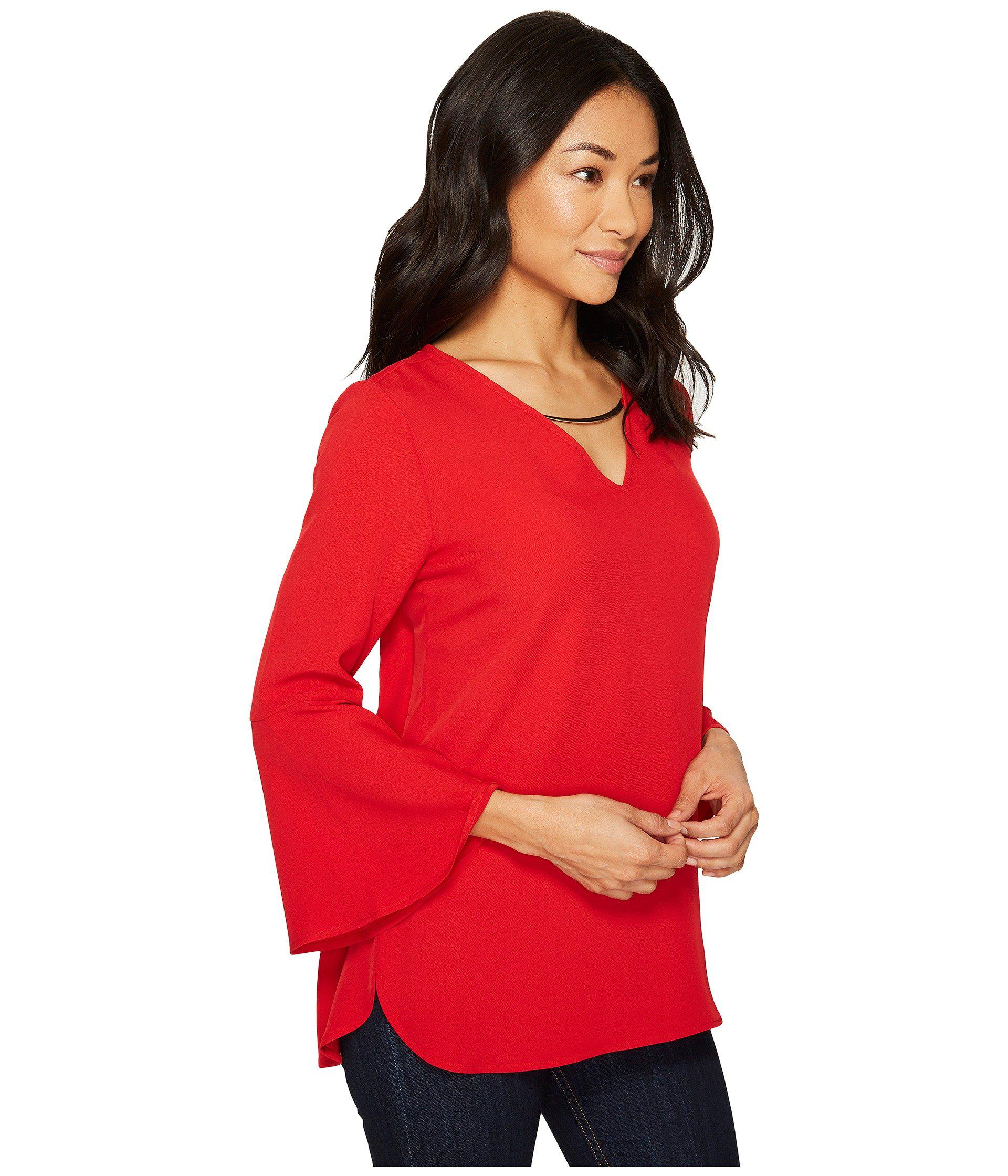 d8a62be54cde84 Calvin Klein Bell Sleeve V-neck Blouse W/ Hardware in Red - Lyst