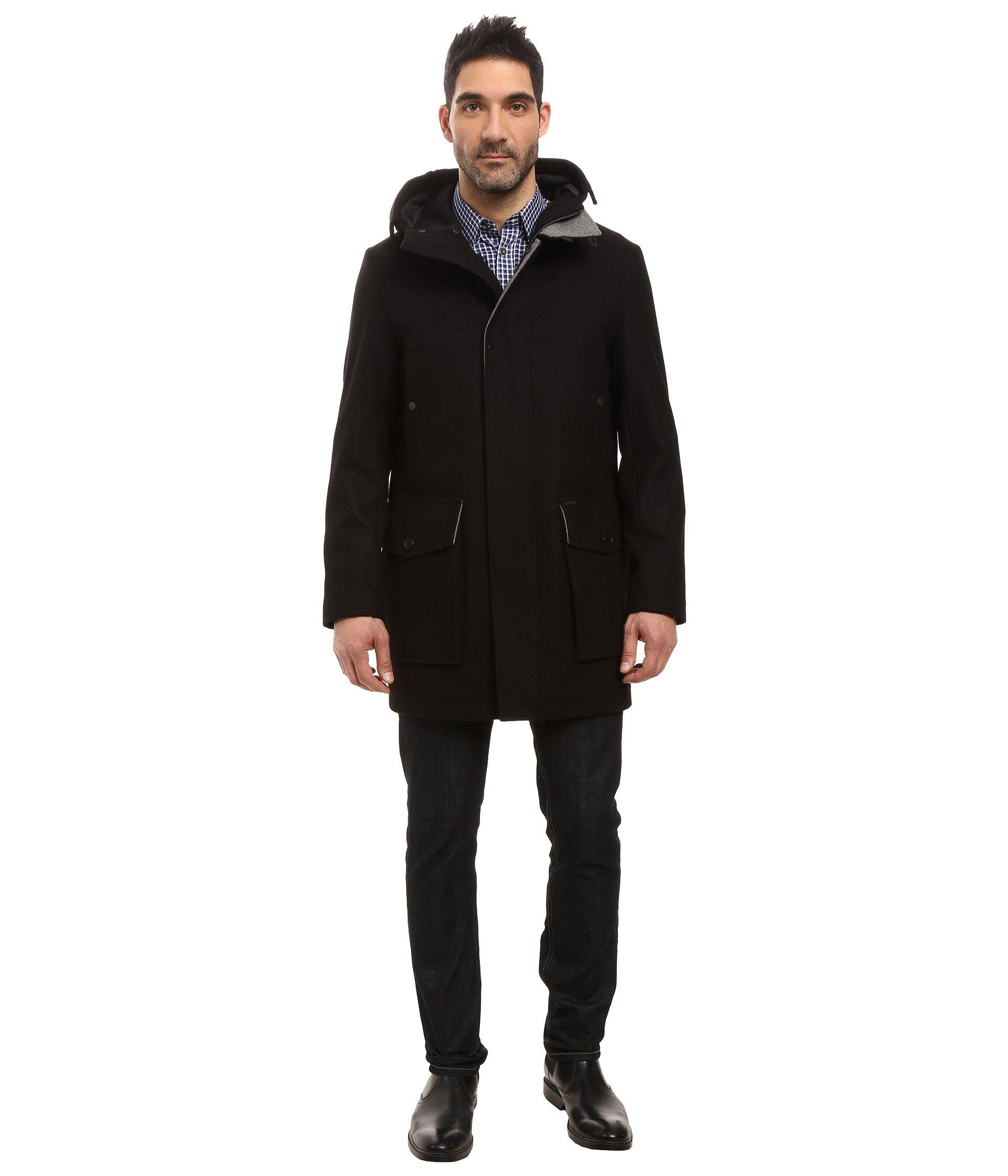 Cole Haan Mens Melton Parka with Oversized Hood Black - Coats & Outerwear
