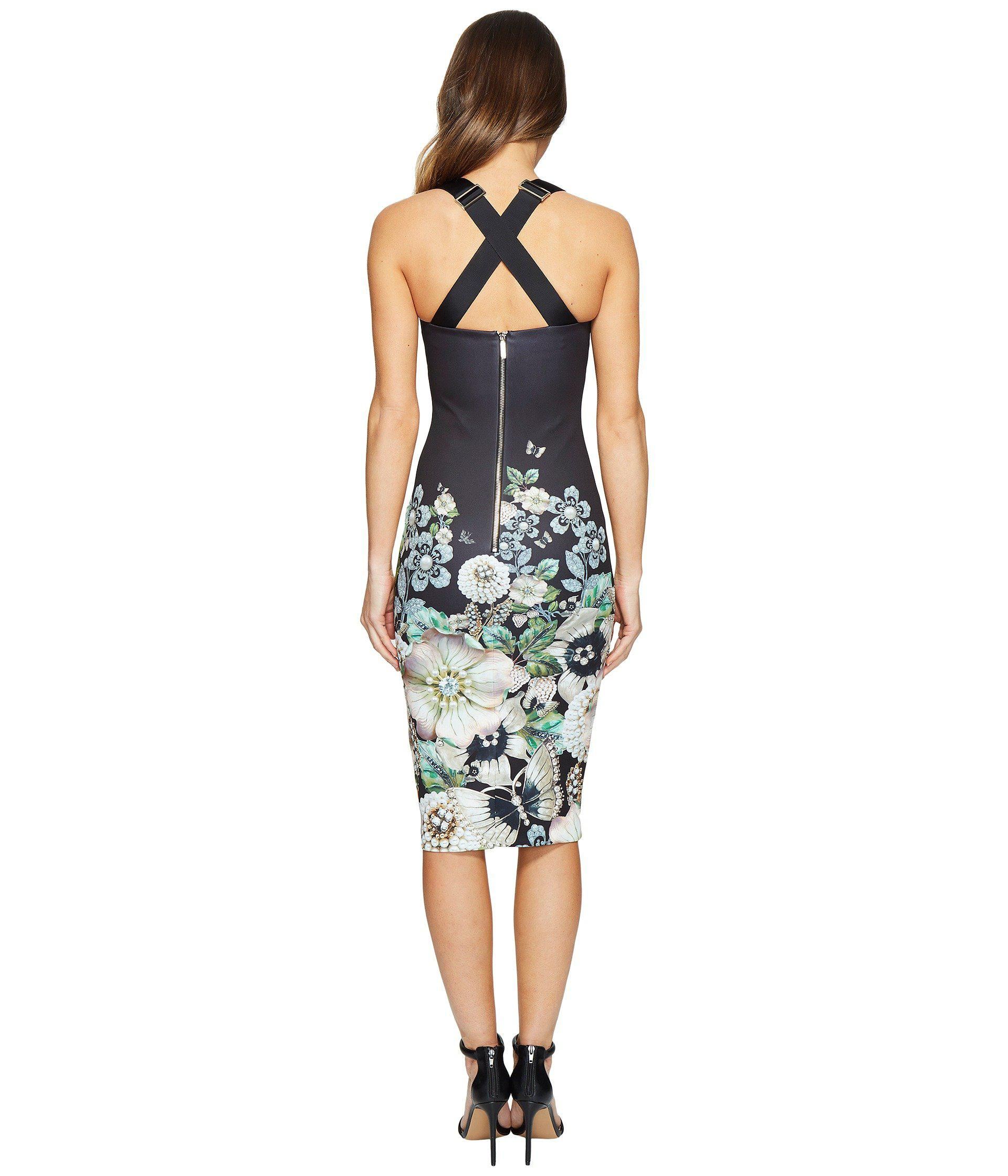 f2dfa672b1b629 Lyst - Ted Baker Jayer Gem Gardens Bodycon Dress in Black