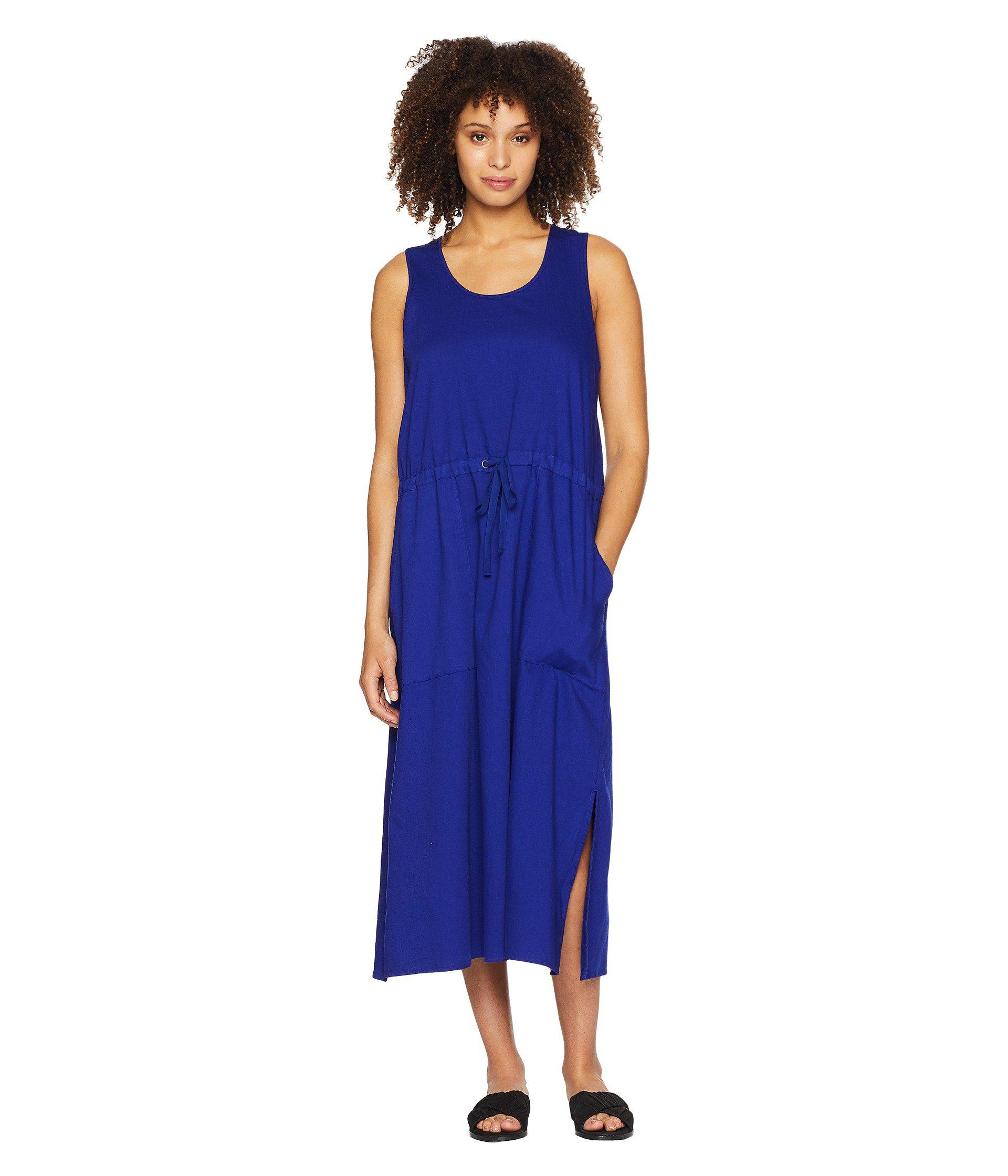 a69cd96cdd18fc Lyst - Eileen Fisher Scoop Neck C l Dress in Blue - Save 24%