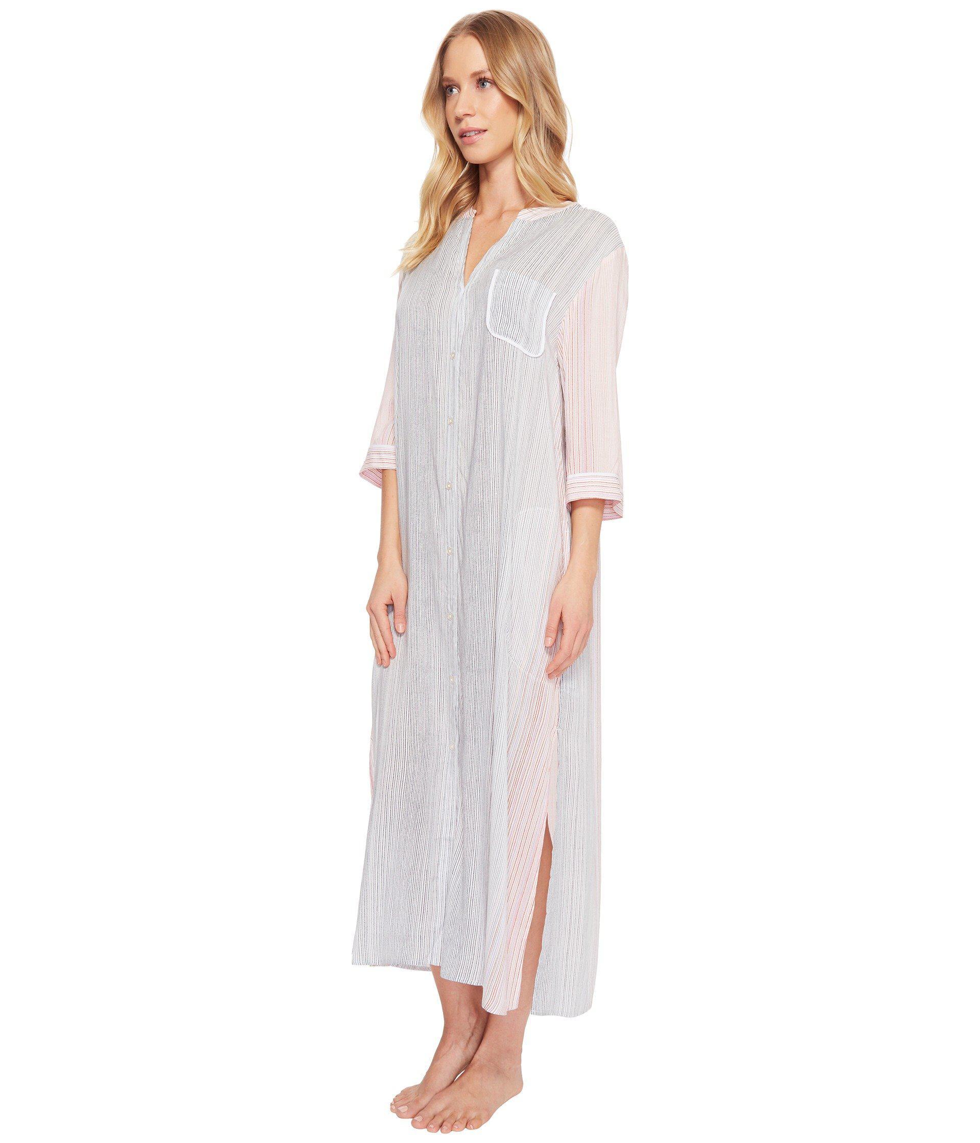 5ba802f504a6a5 Lyst - Donna Karan Striped Maxi Sleepshirt