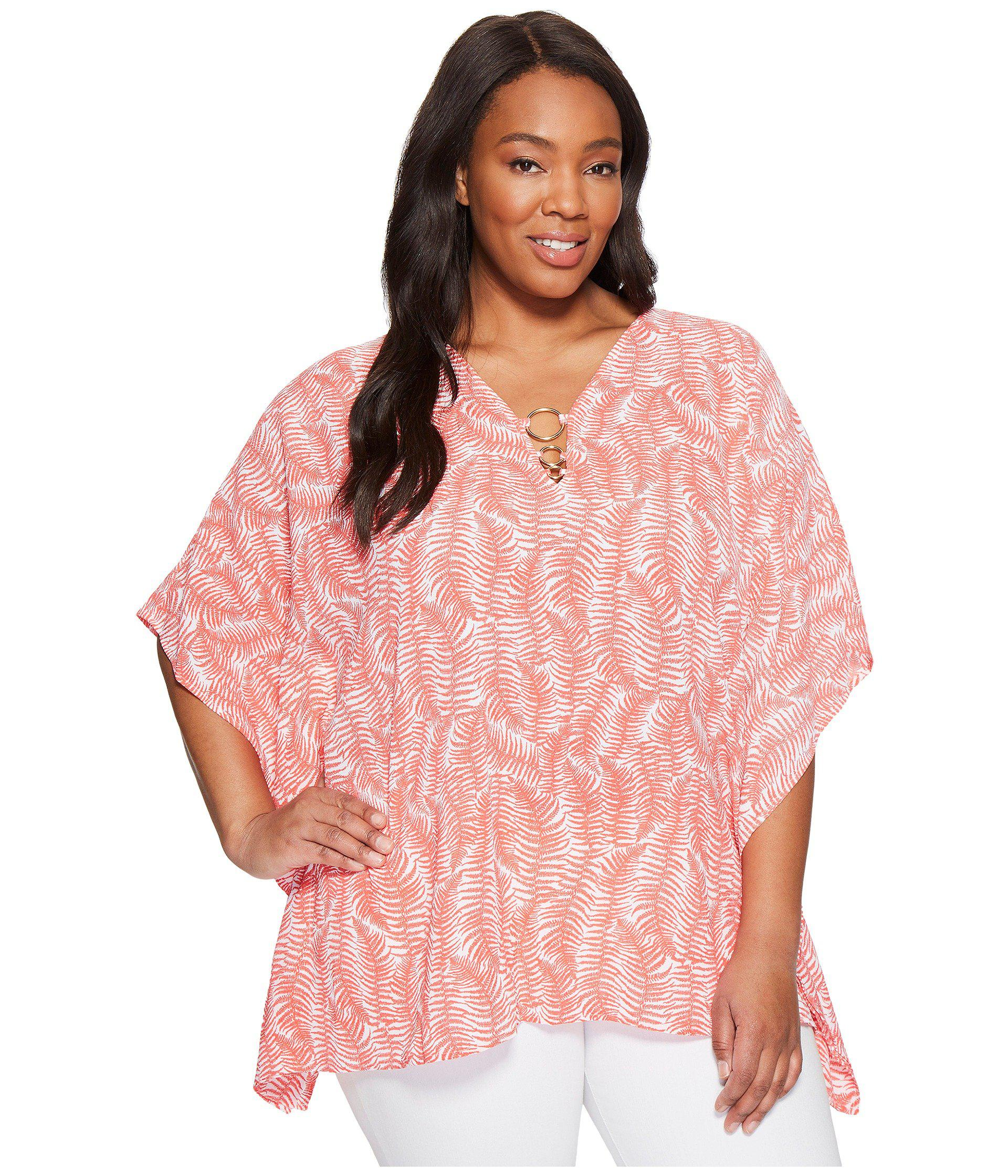 4be17230f1d Lyst - Michael Michael Kors Plus Size Pella Ring Flutter Top in Pink