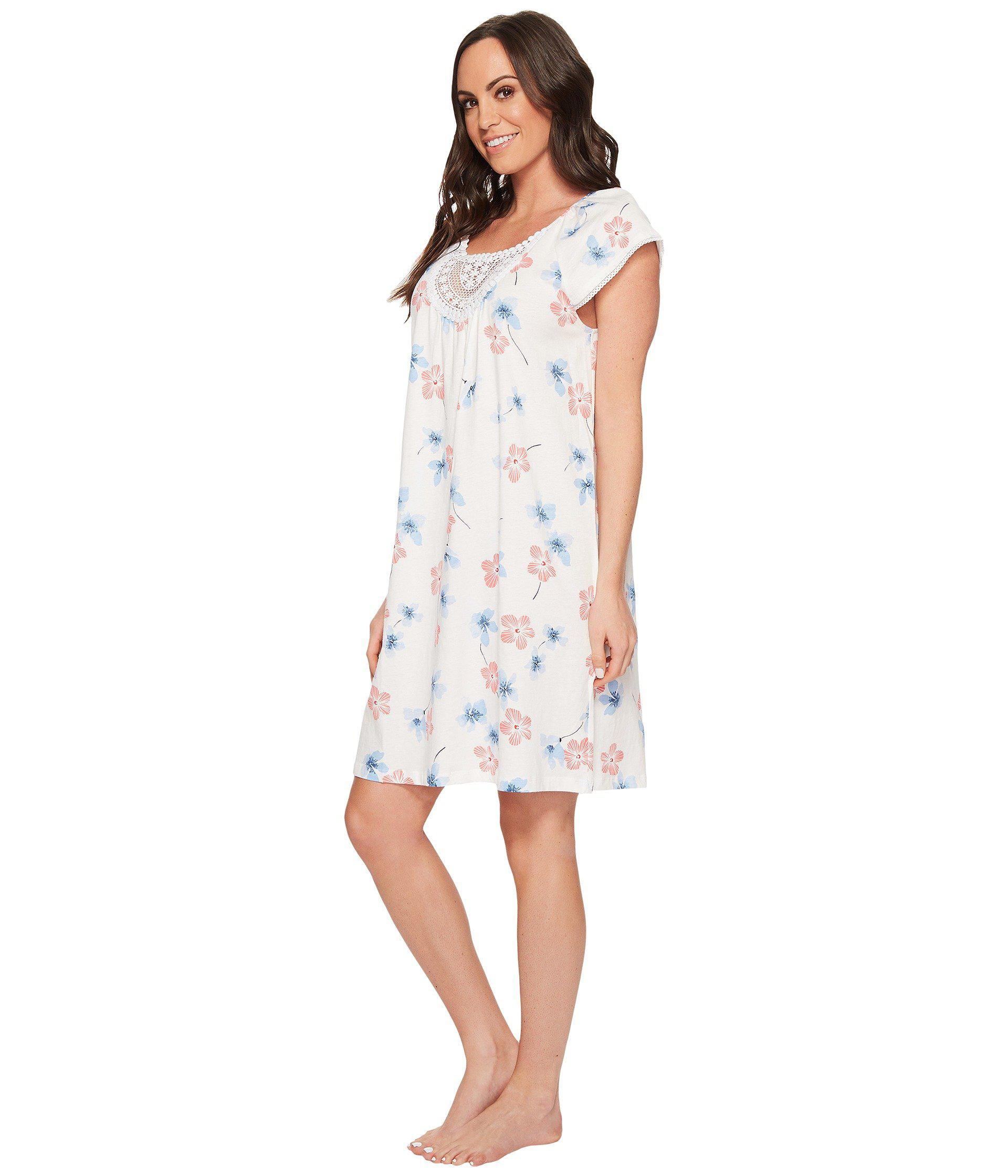 Lyst - Carole Hochman Floral Print Short Gown in White - Save 15%