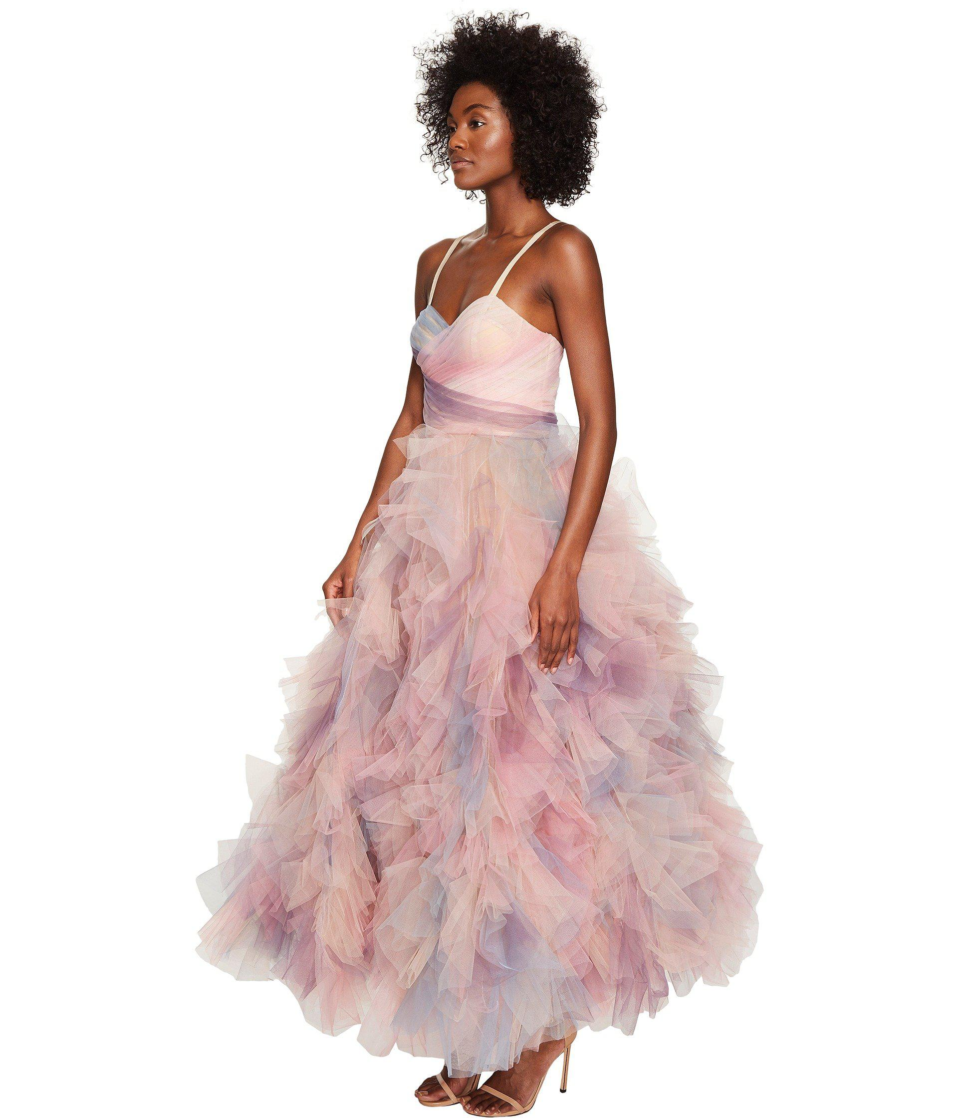1c8c5ac1 Marchesa Pastel Tulle Ruffles W/ Corseted Bodice Cocktail Dress in ...