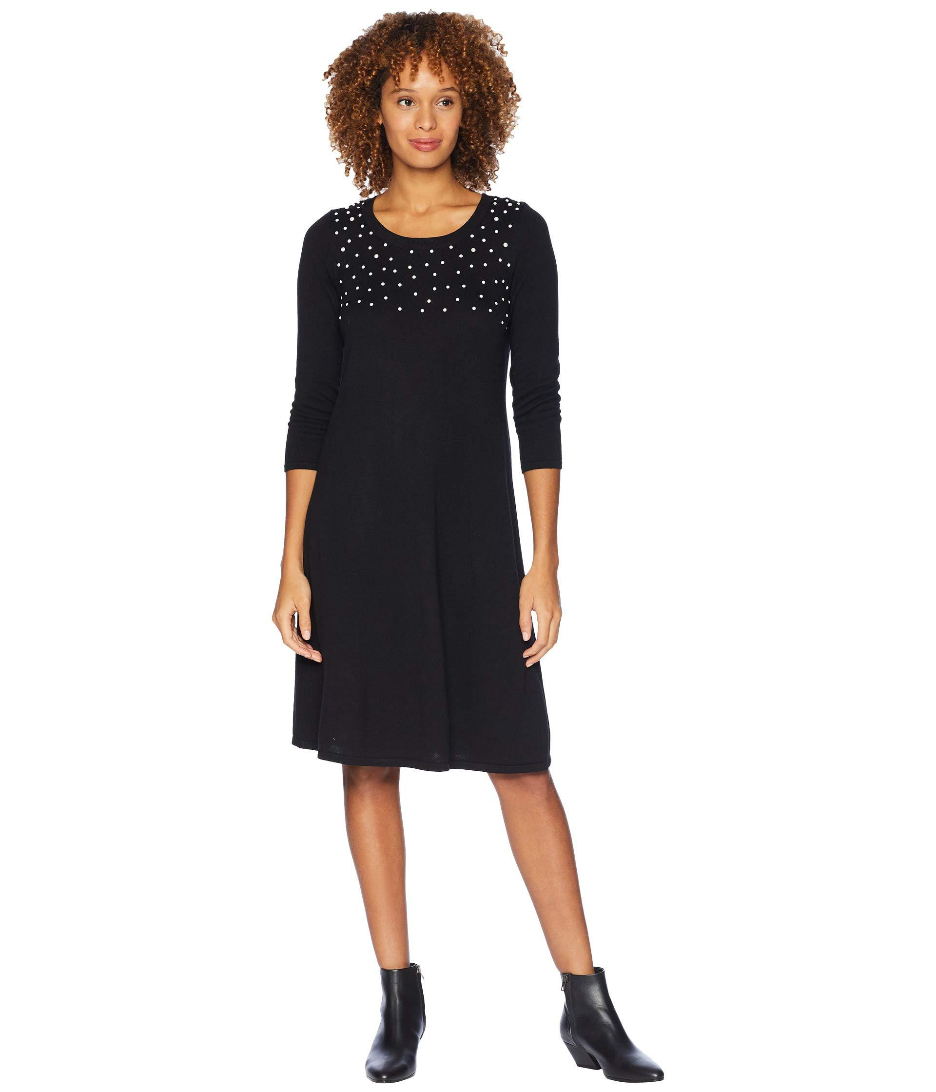 e16c1e0e3d8 Nine West. Women s Black 3 4 Sleeve Shift Sweater Dress W  Pearl Details