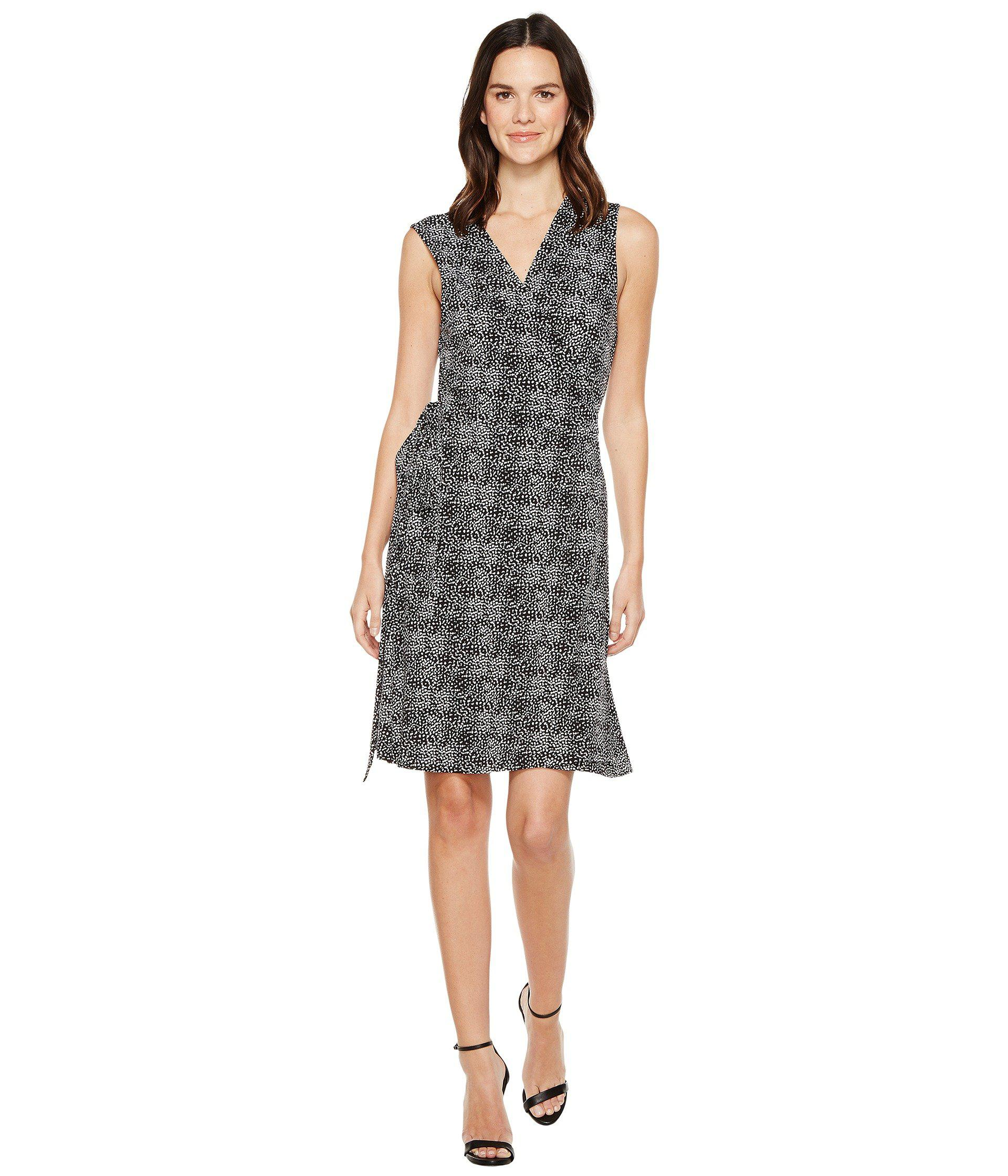 ea66836e848 Lyst - Vince Camuto Pebble Print Wrap Dress in Black - Save 36%