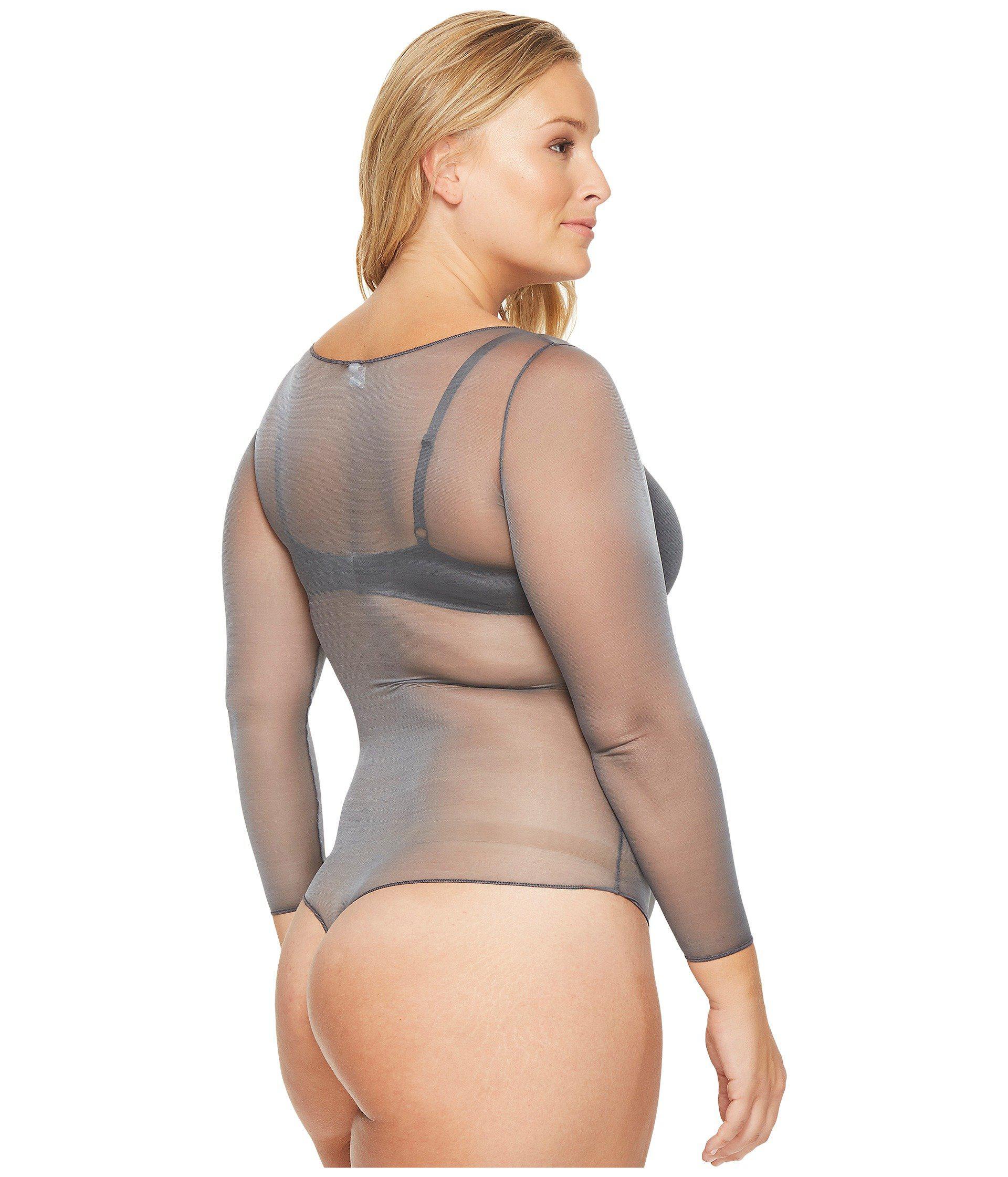 9a12e45873d Spanx Plus Size Sheer Fashion Mesh Thong Bodysuit in Gray - Lyst