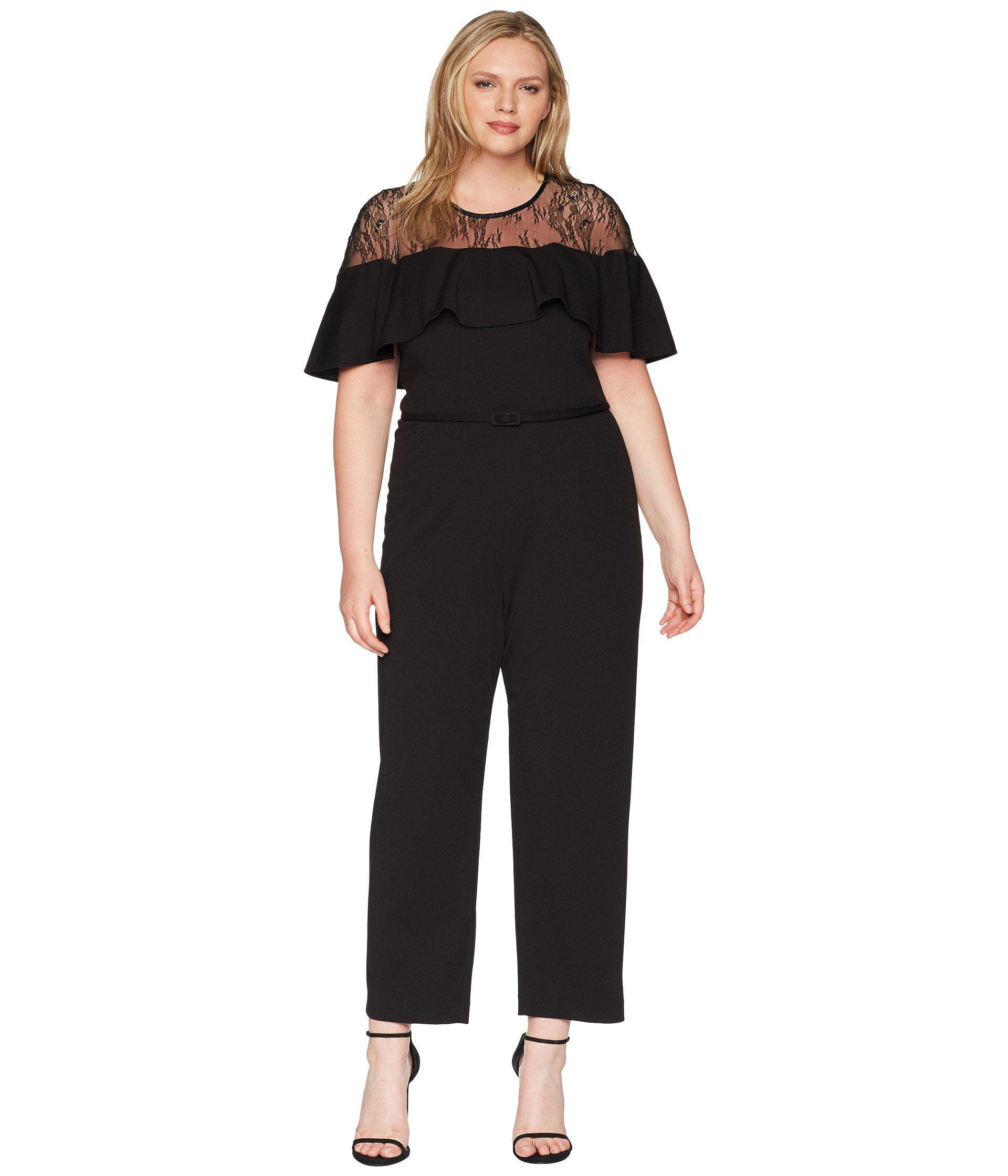 2c5813859622 Lyst - Adrianna Papell Plus Size Illusion Neckline Jumpsuit in Black ...