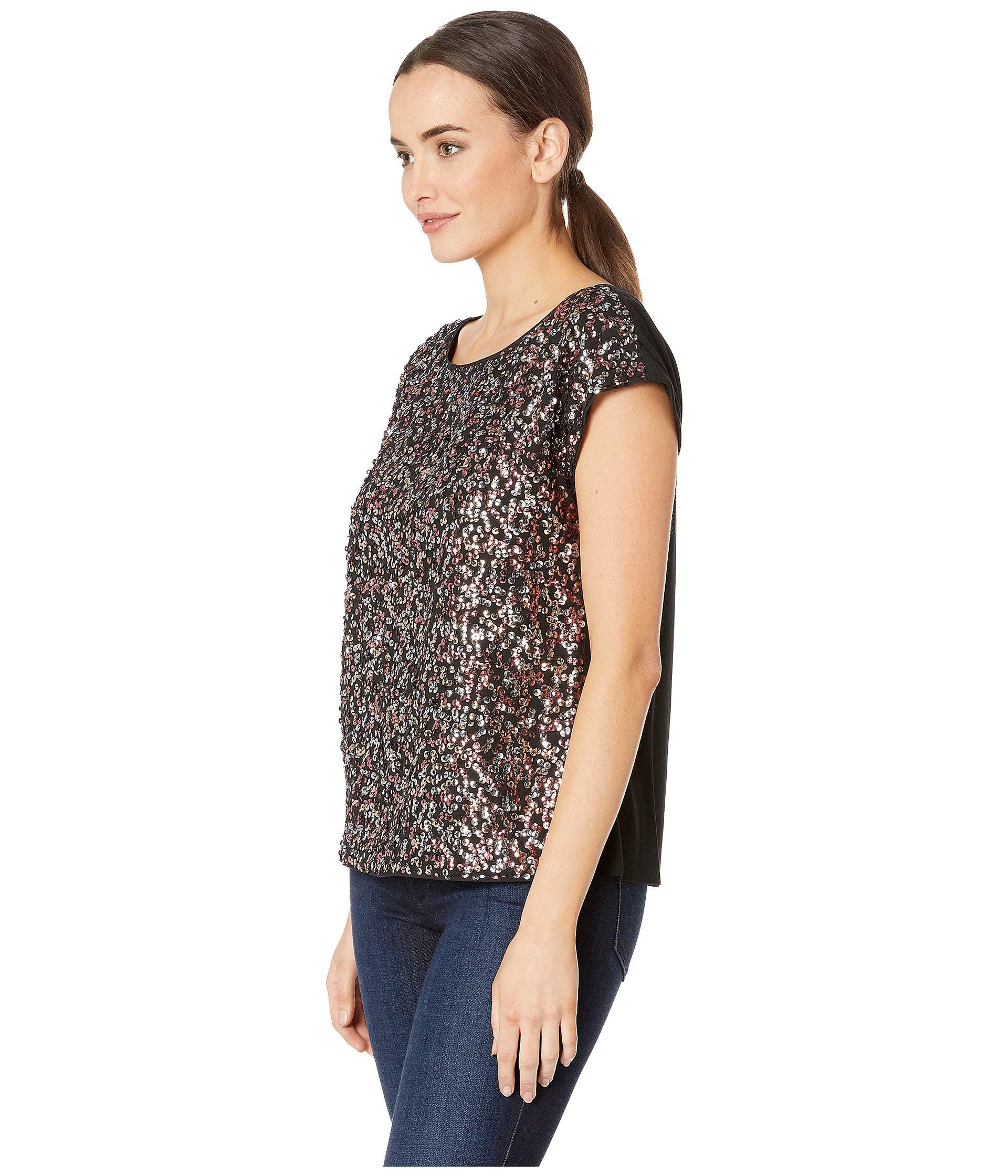 83f41153e7259 Lyst - Vince Camuto Extend Shoulder Multi-sequin Mesh Mix Media Blouse in  Black