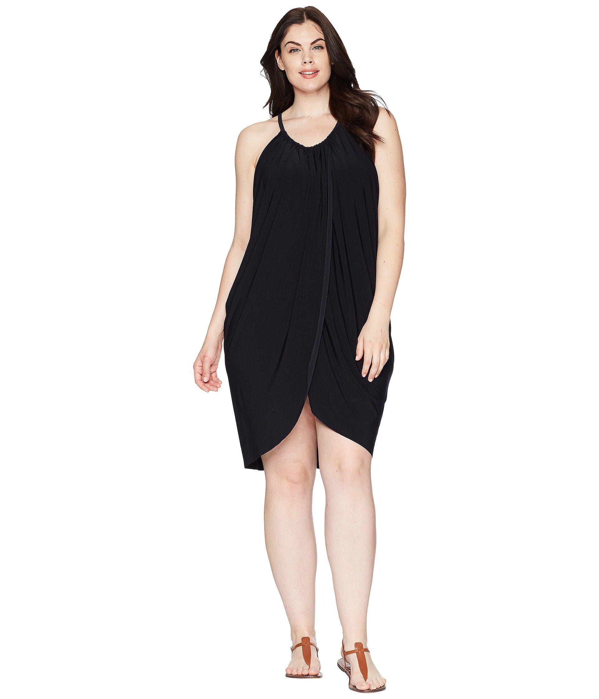 520c205d6d633 Lyst - Magicsuit Plus Size Draped Cover-up in Black