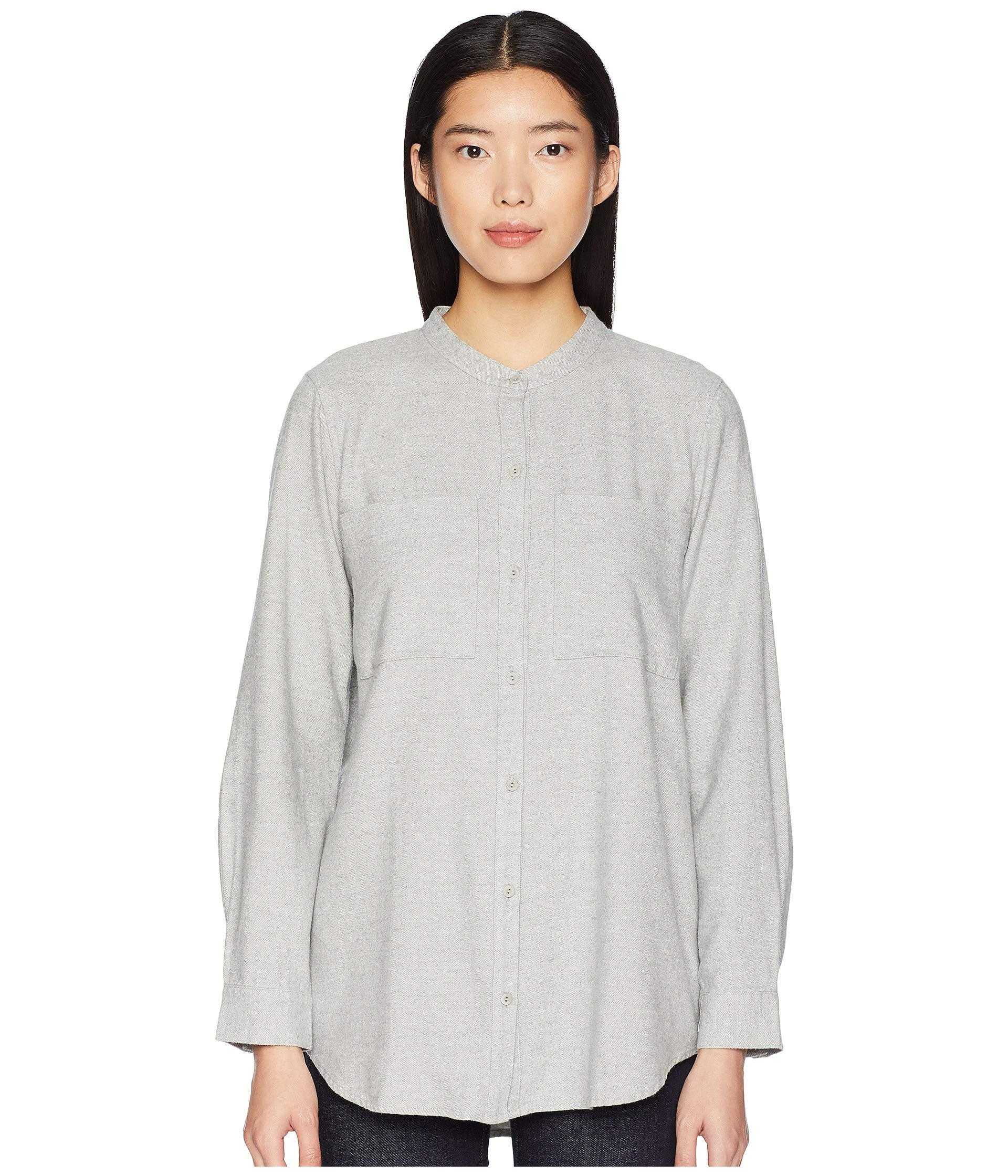 992d9157201cf Lyst - Eileen Fisher Organic Cotton Flannel Twill Mandarin Collar ...