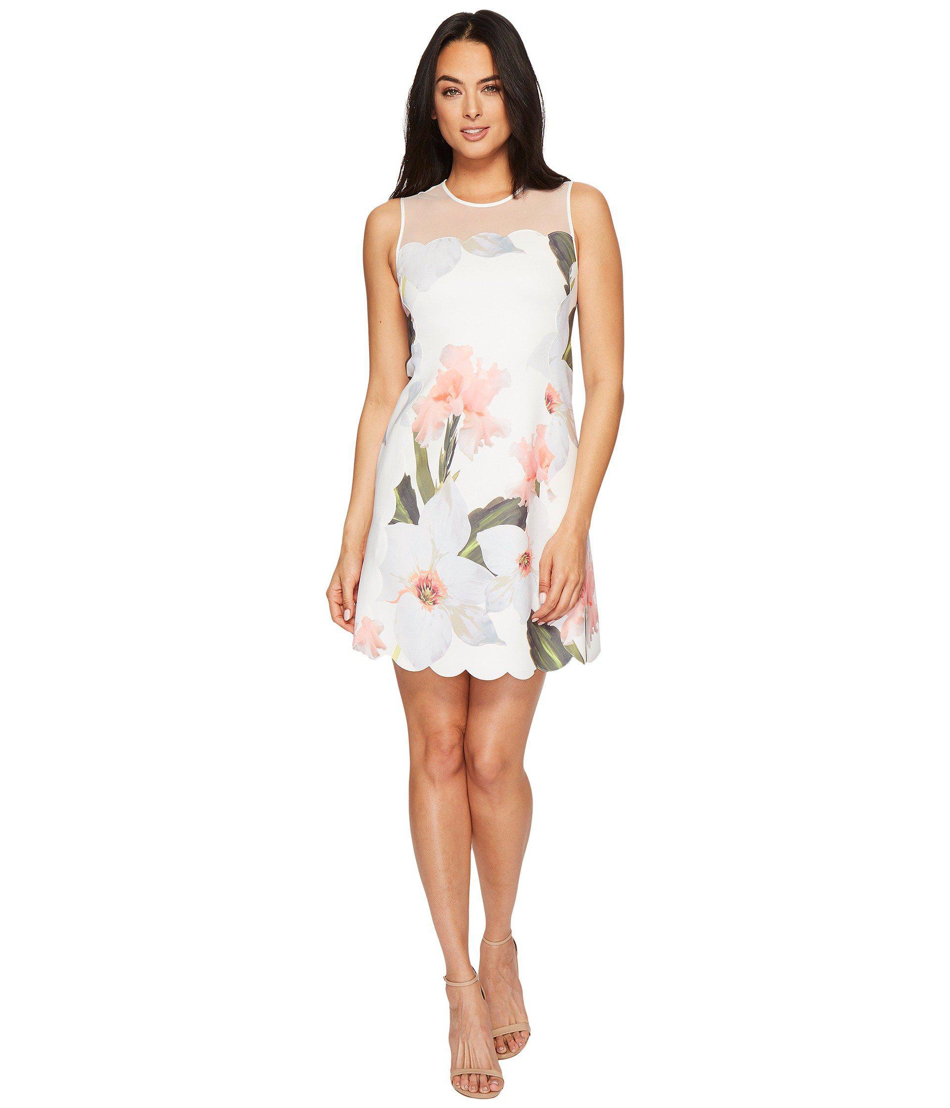 de0dd49460d Lyst - Ted Baker Caprila Chatsworth Bloom Scallop Tunic in White ...