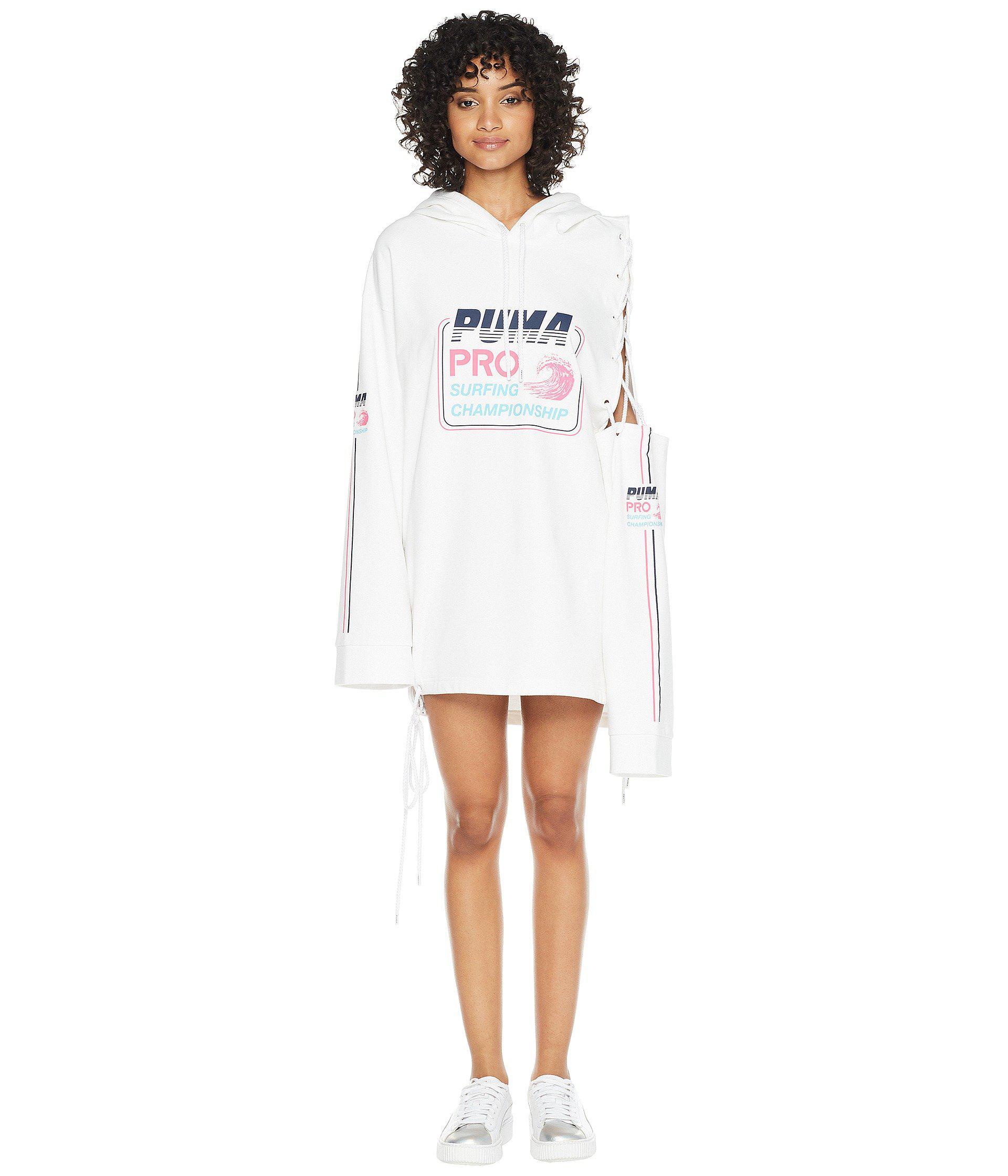 3ff25e5954a PUMA - White X Fenty By Rihanna Side Laced Long Sleeve Hoodie - Lyst. View  fullscreen