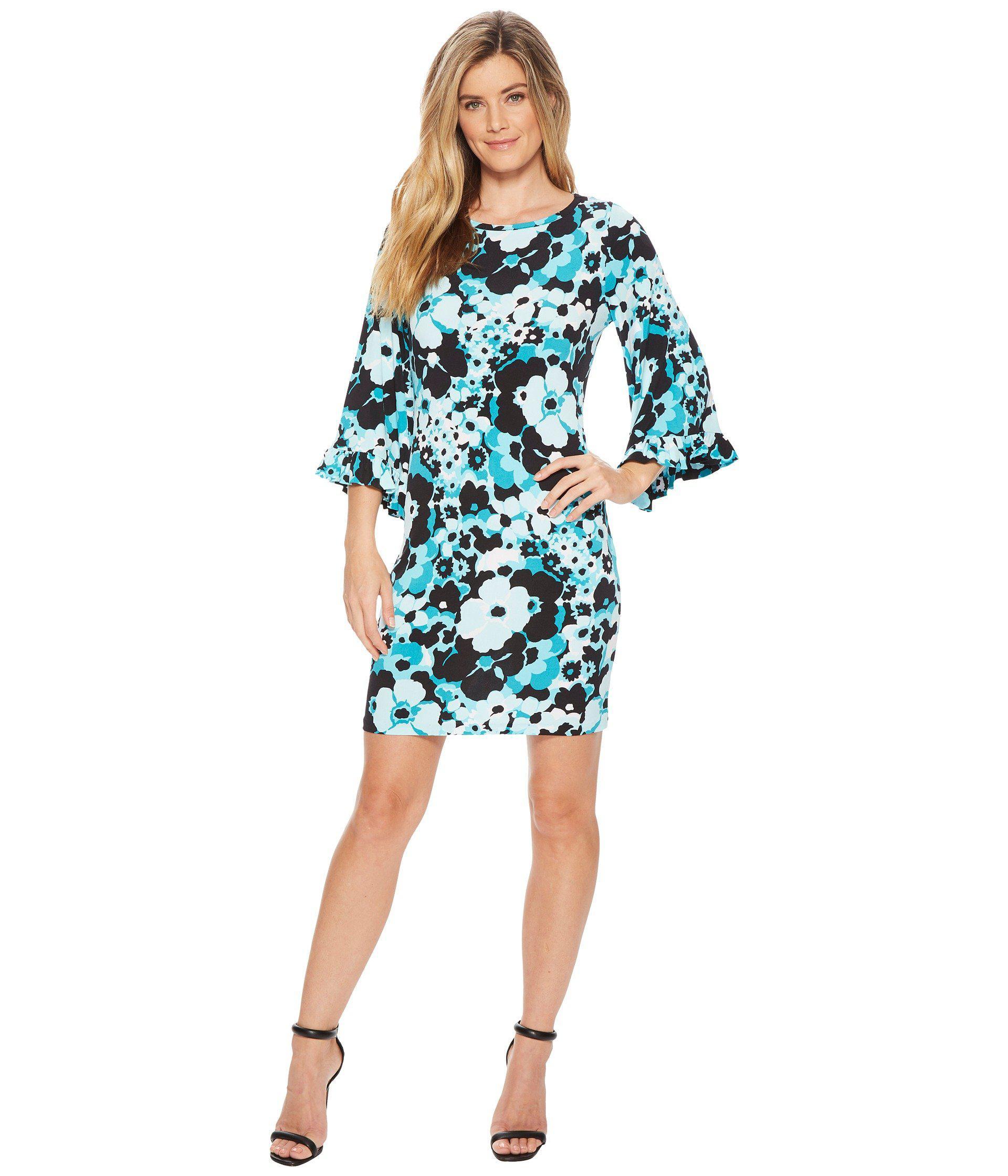 c8dd81dd591a9 Lyst - MICHAEL Michael Kors Springtime Flare Sleeve Dress in Blue ...