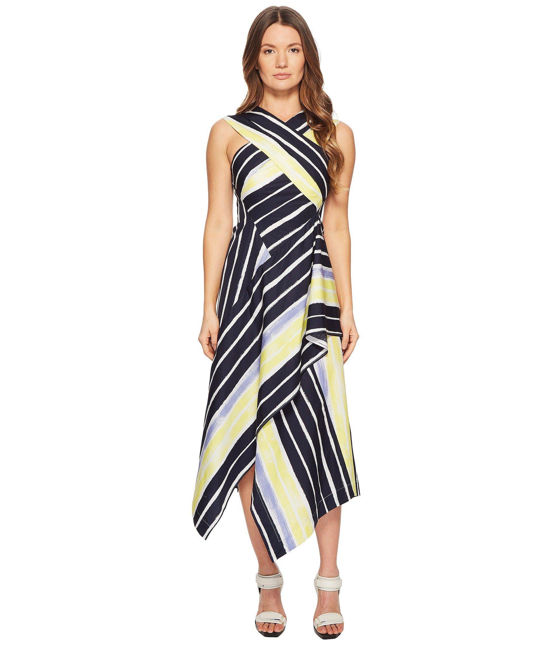 f202a8def4 Sportmax - Blue Cles Striped Wrapped Sleeveless Dress - Lyst. View  fullscreen