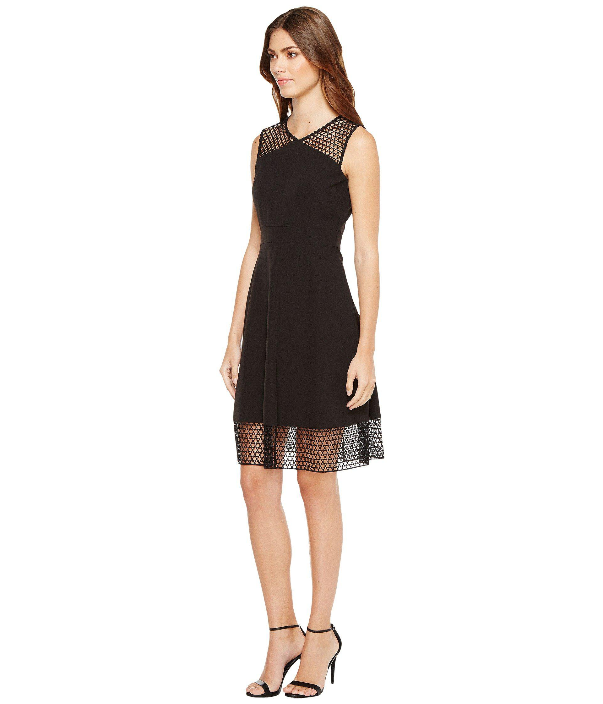 b1cd38f7 Lyst - Tahari Embroidery Trim Fit-and-flare Dress in Black - Save 27%