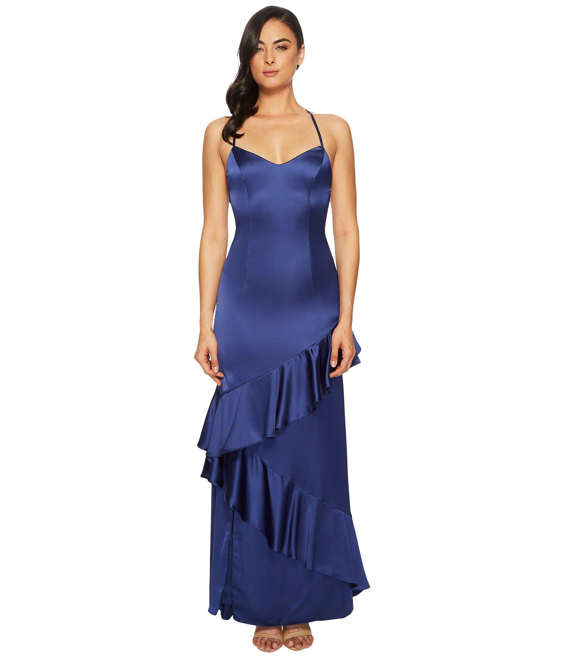 Lyst - Adrianna Papell Long Satin Ruffled Slip Gown in Blue - Save ...